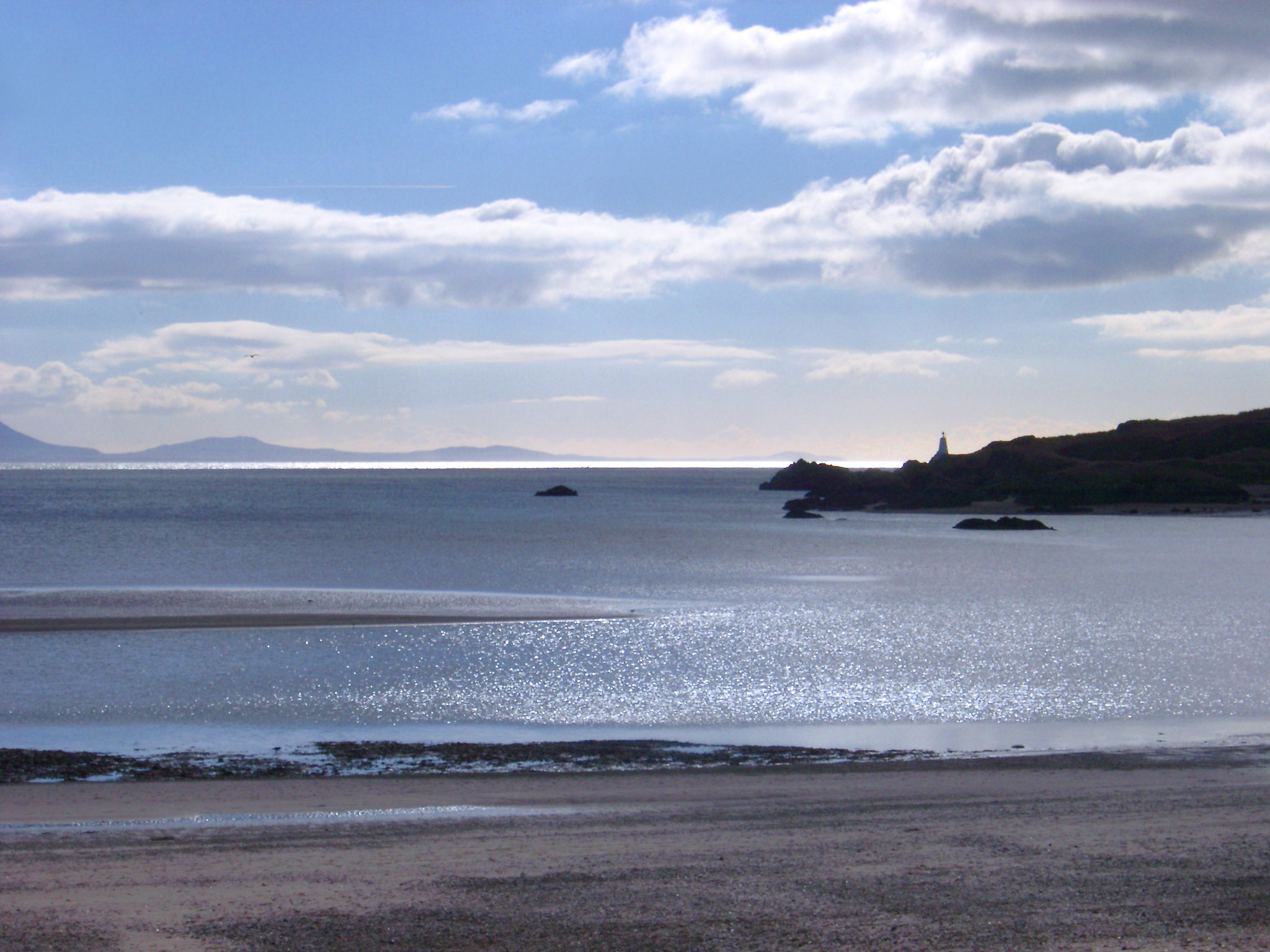 A view to the mainland from Ynys Llanddwn on angelsey, wales.
