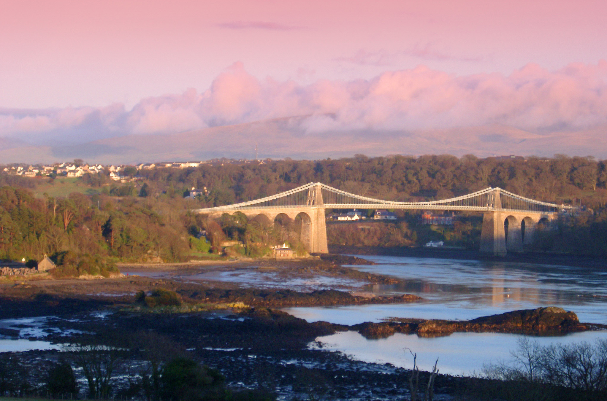 Menai Straits bridge connecting the island of Anglesey to mainland Wales