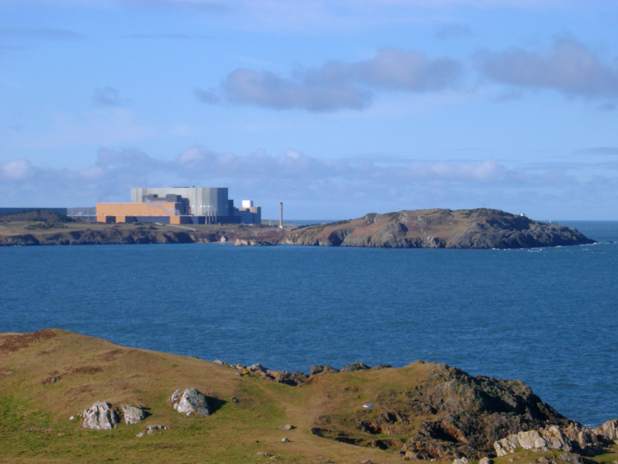 Wylfa Power Station, a nuclear power station situated just west of Cemaes Bay on the island of Anglesey, North Wales.