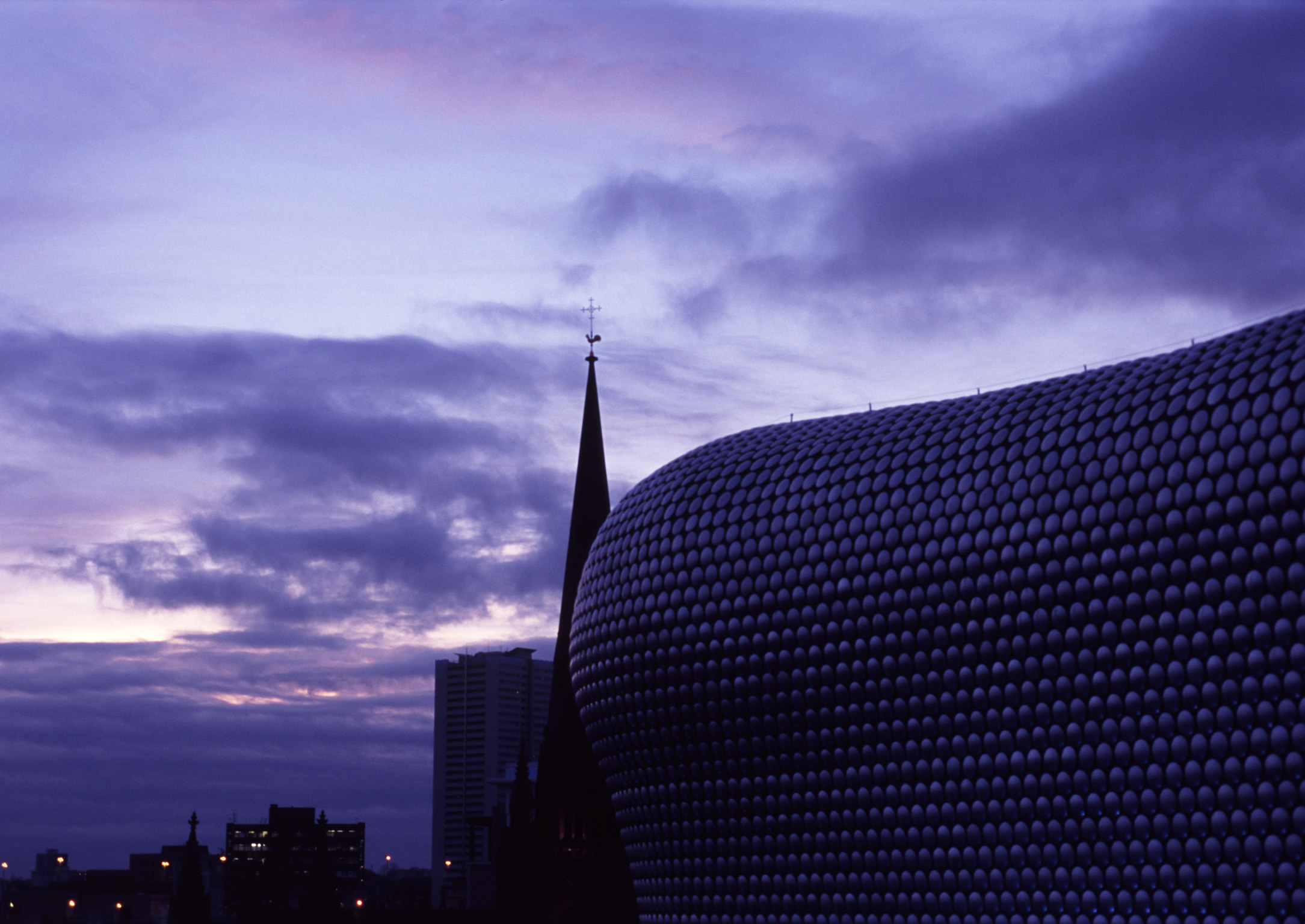 Famous Landmark in Birmingham, England - Bullring Shopping Centre, Emphasizing Selfridges Building. Captured at Night Time.