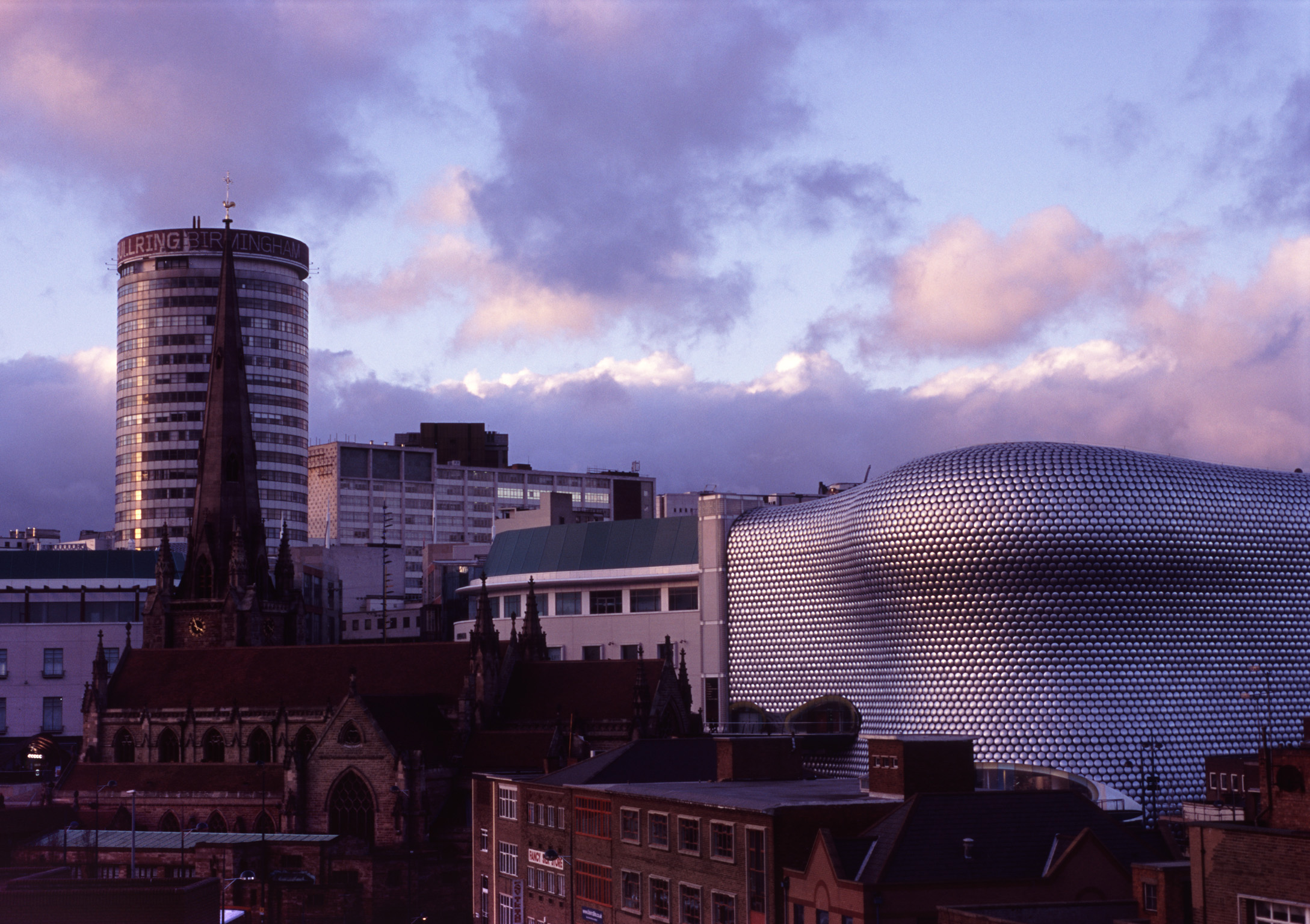 High Rise Rotunda and Commercial Bullring Buildings at Birmingham. Captured on Afternoon.
