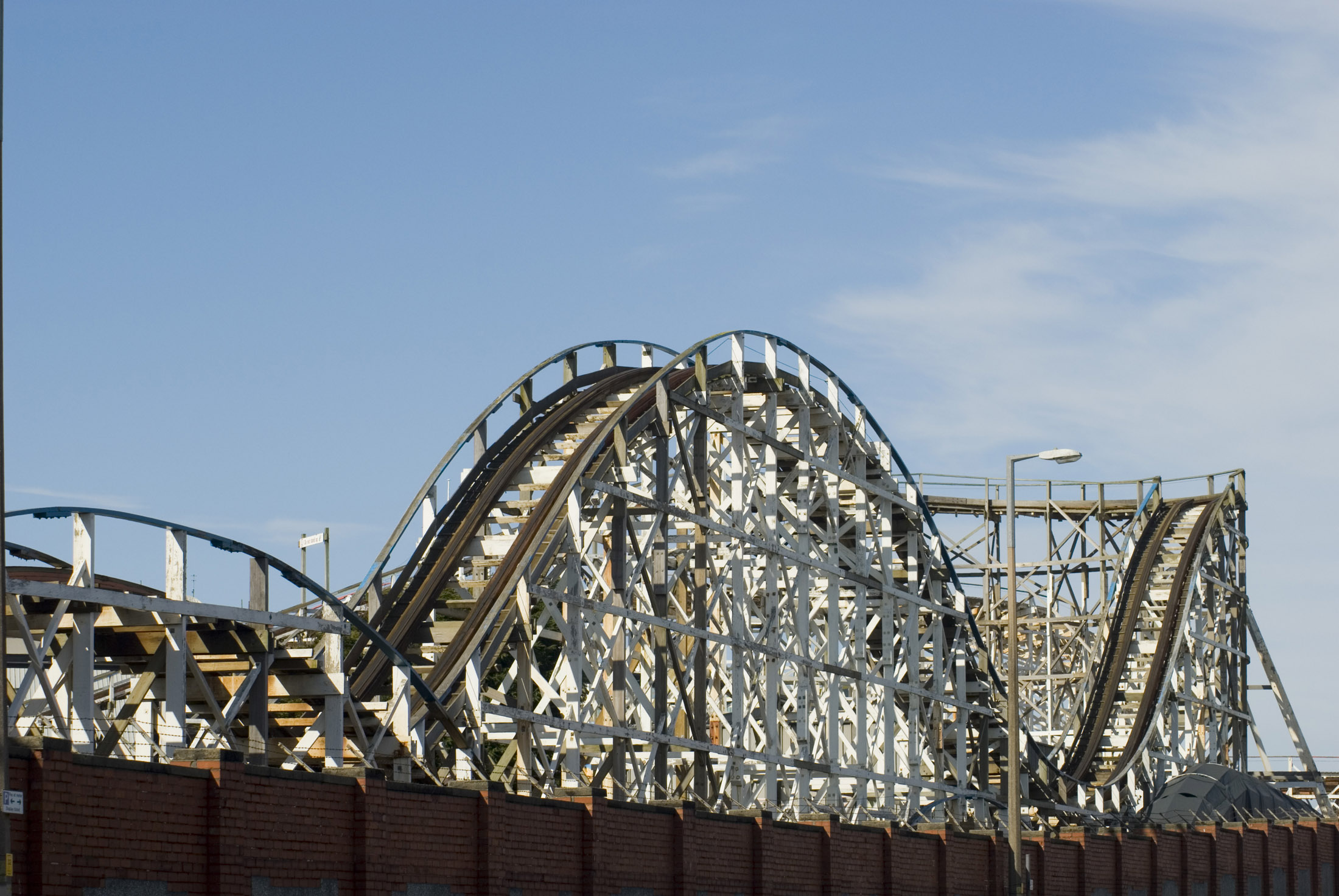 old wooden rollercoaster track at blackpool pleasure beach