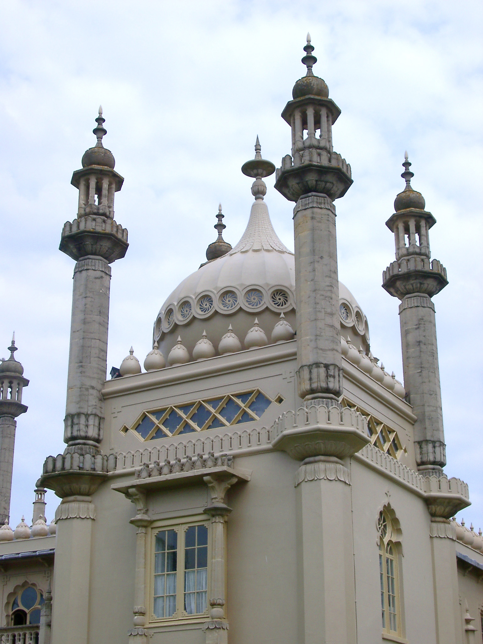 Close Up Architectural Detail of Dome and Minarets of Royal Pavilion, Brighton, England