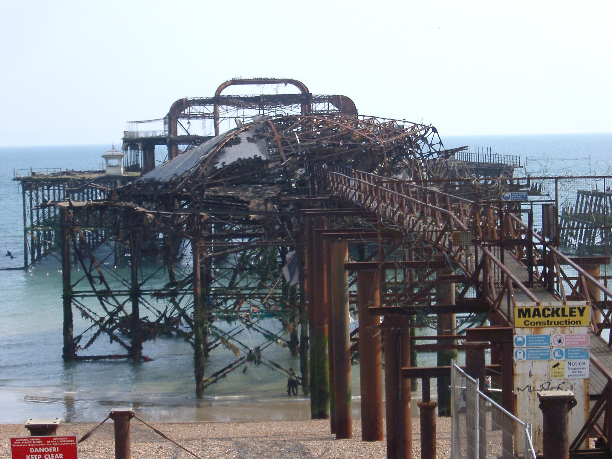 Close up Ruins of the Famous Old West Pier in Brighton, East Sussex, England
