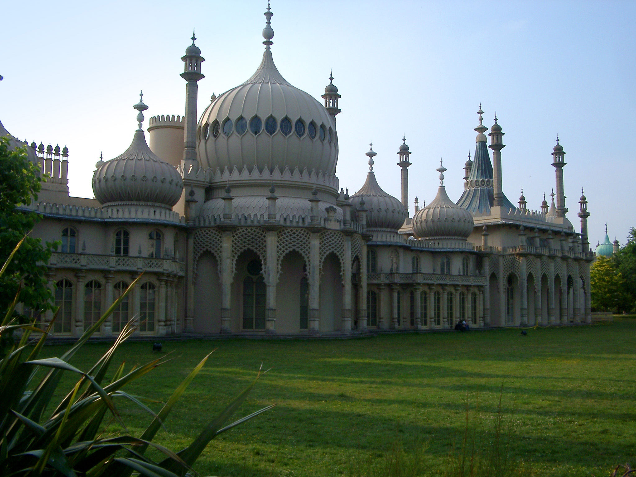 Grassy Landscape at Famous Architectural Royal Pavilion Building in Brighton, England.
