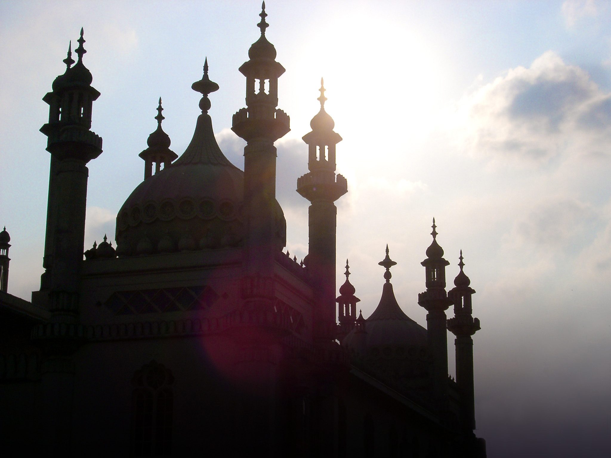 Famous Architectural Royal Pavilion Building in Brighton, England, Reflected by Sunlight.