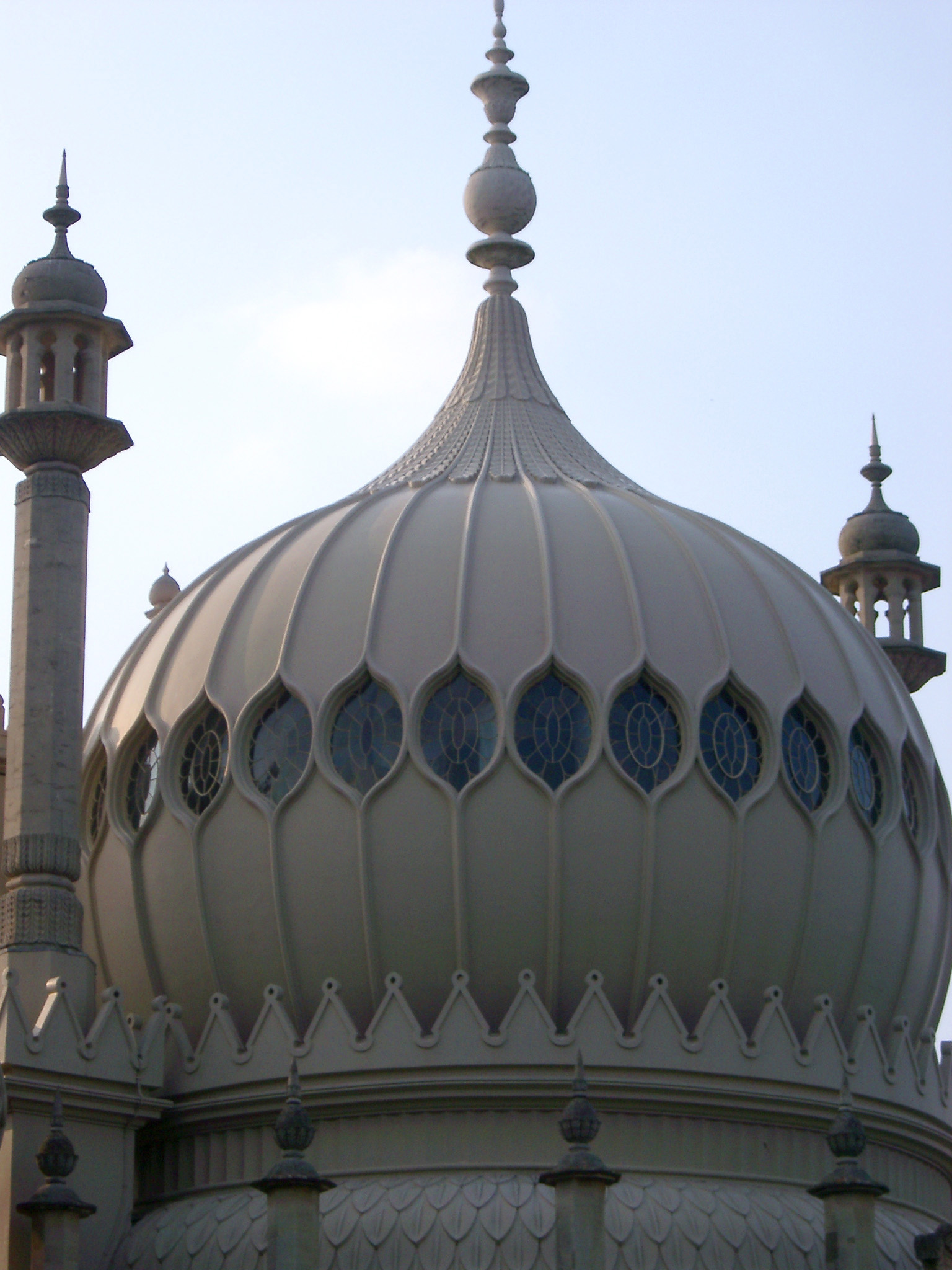 Exterior of the ornate onion dome at Brighton Royal Pavilion with its oriental Indian architectural style