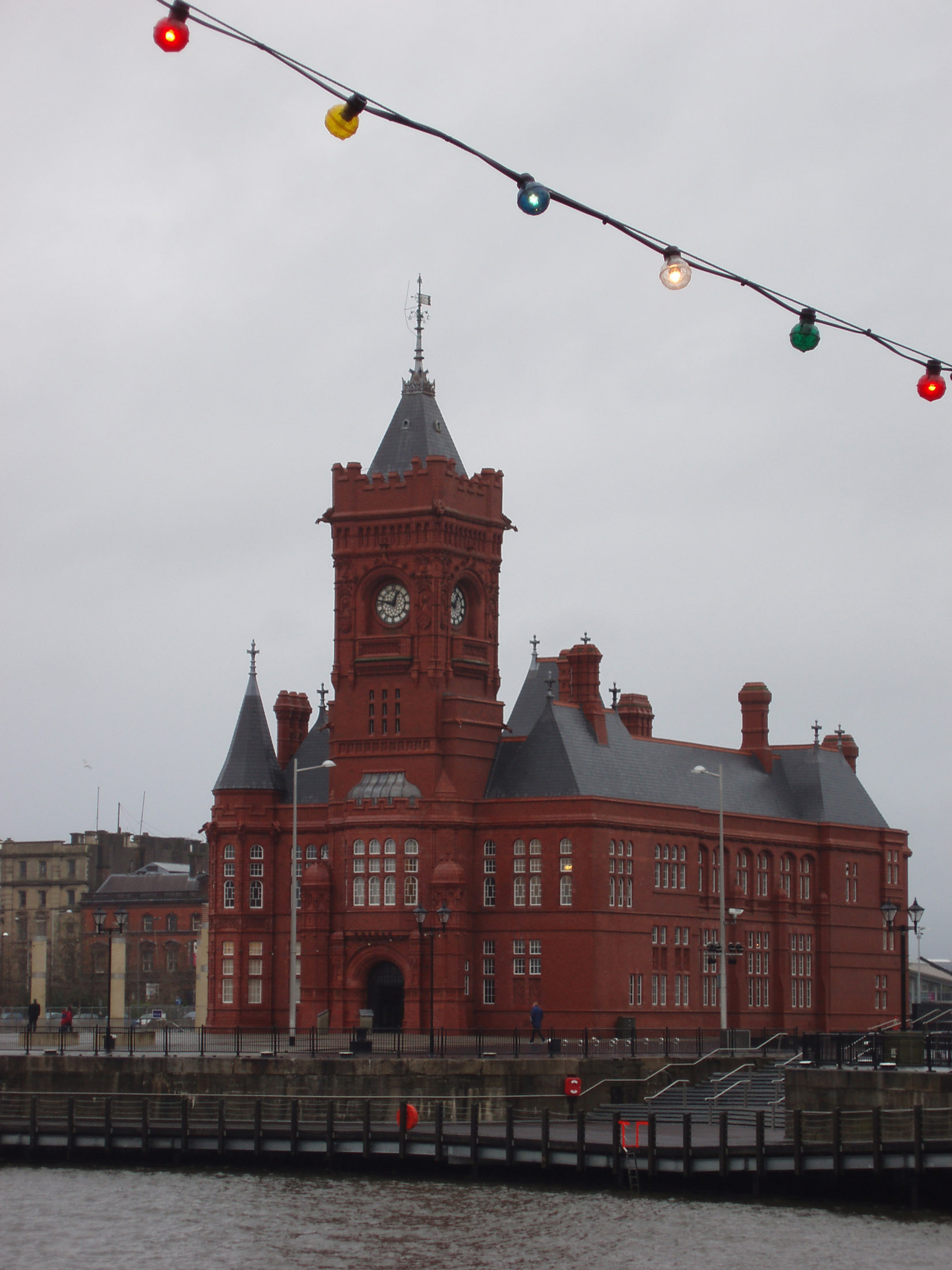Pierhead Building in Cardiff Bay, Wales. Captured on a Stormy Sky Background.