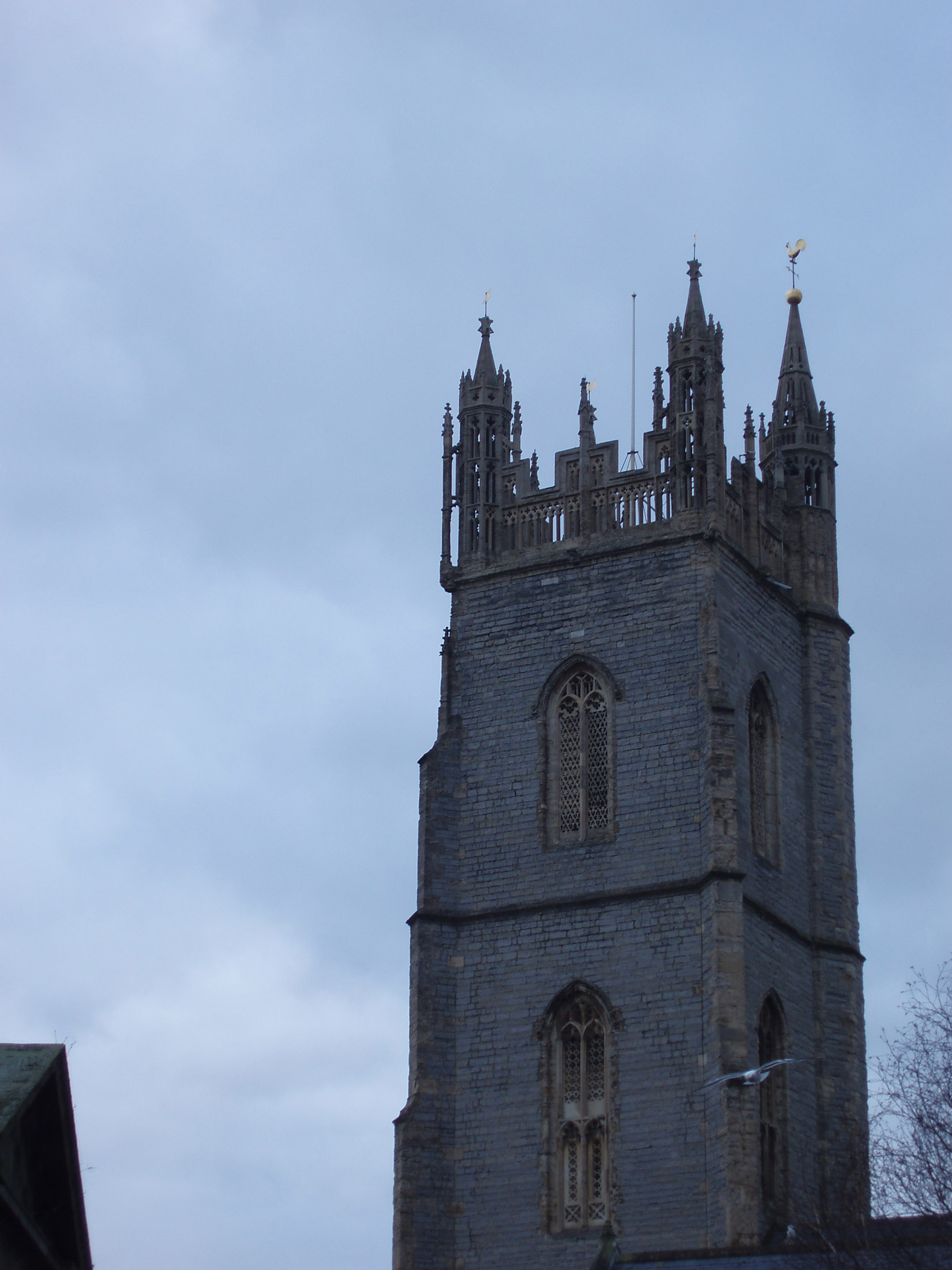 Historic Architectural edifice - St John the Baptist Church in Cardiff, Wales.