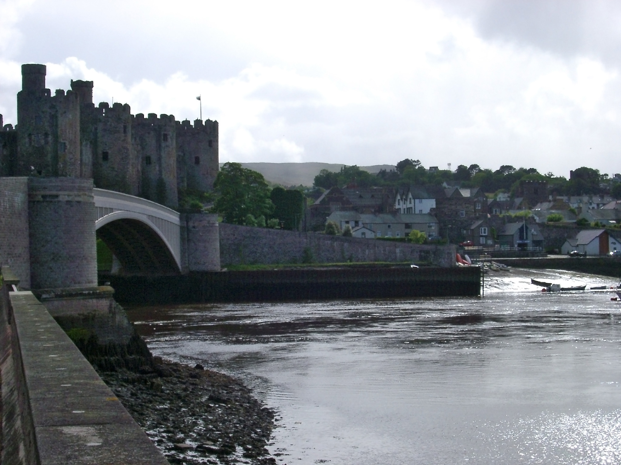 View of the Conway River Bridge Crossing the Beautiful Conway River in Wales.