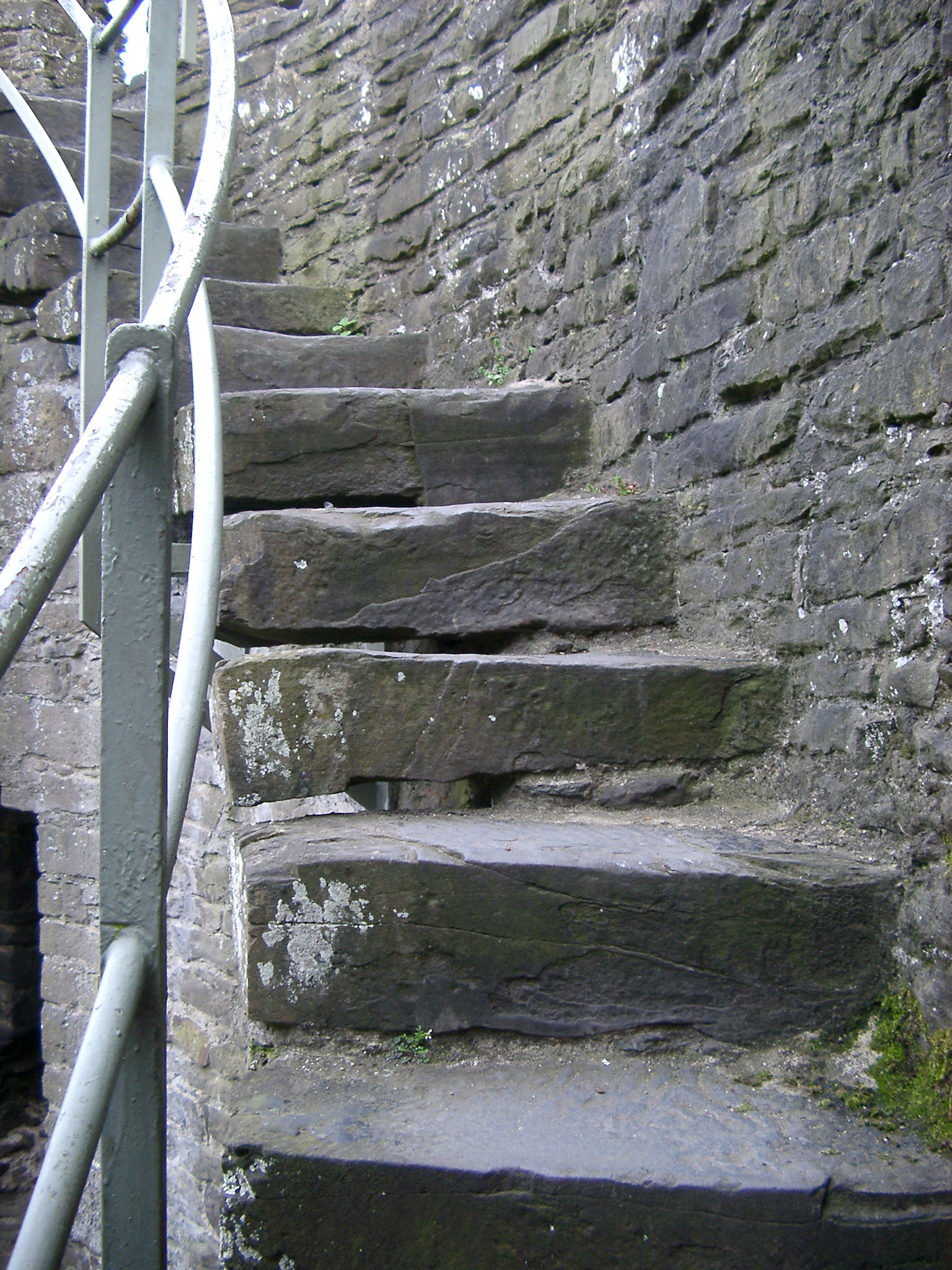 Close up Historic Walls and Stairs of Famous Conway Castle in Wales.