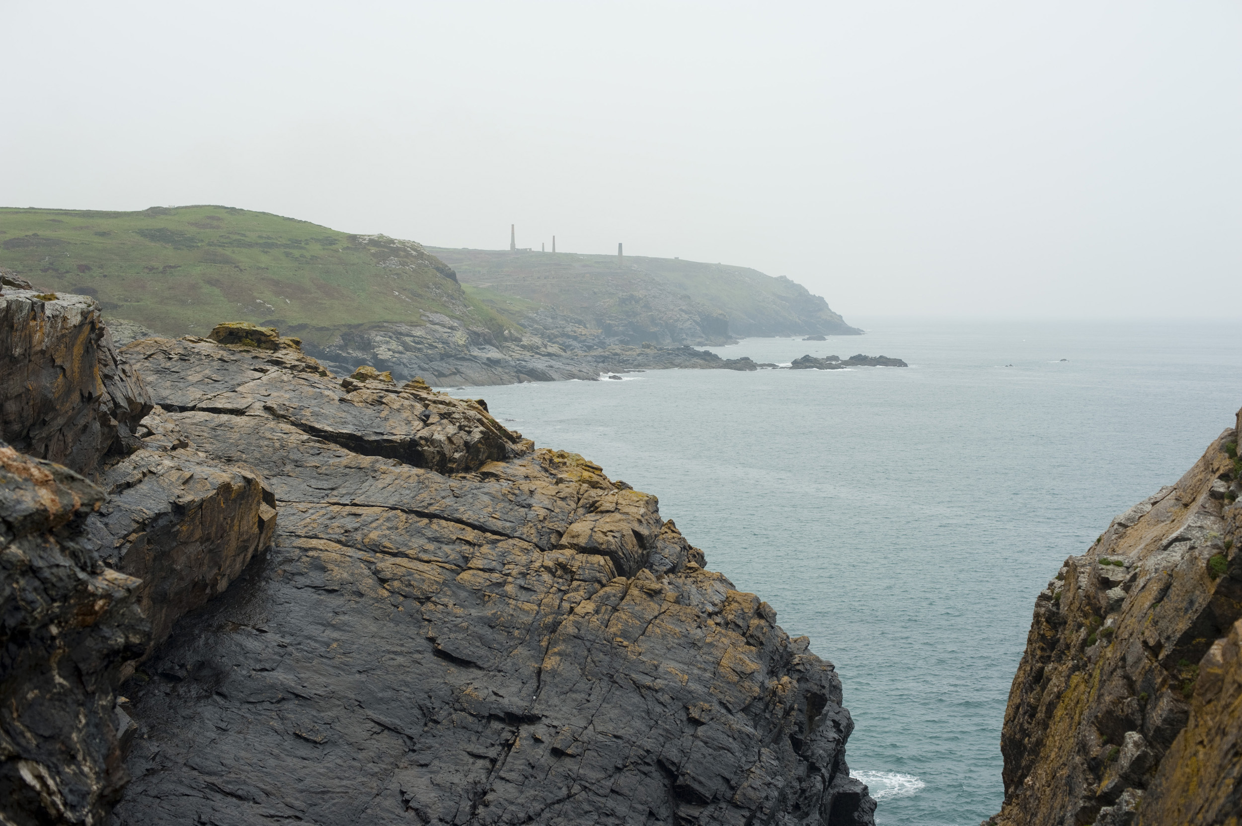 rugged and historic cornish mining landscape on the atlantic coast