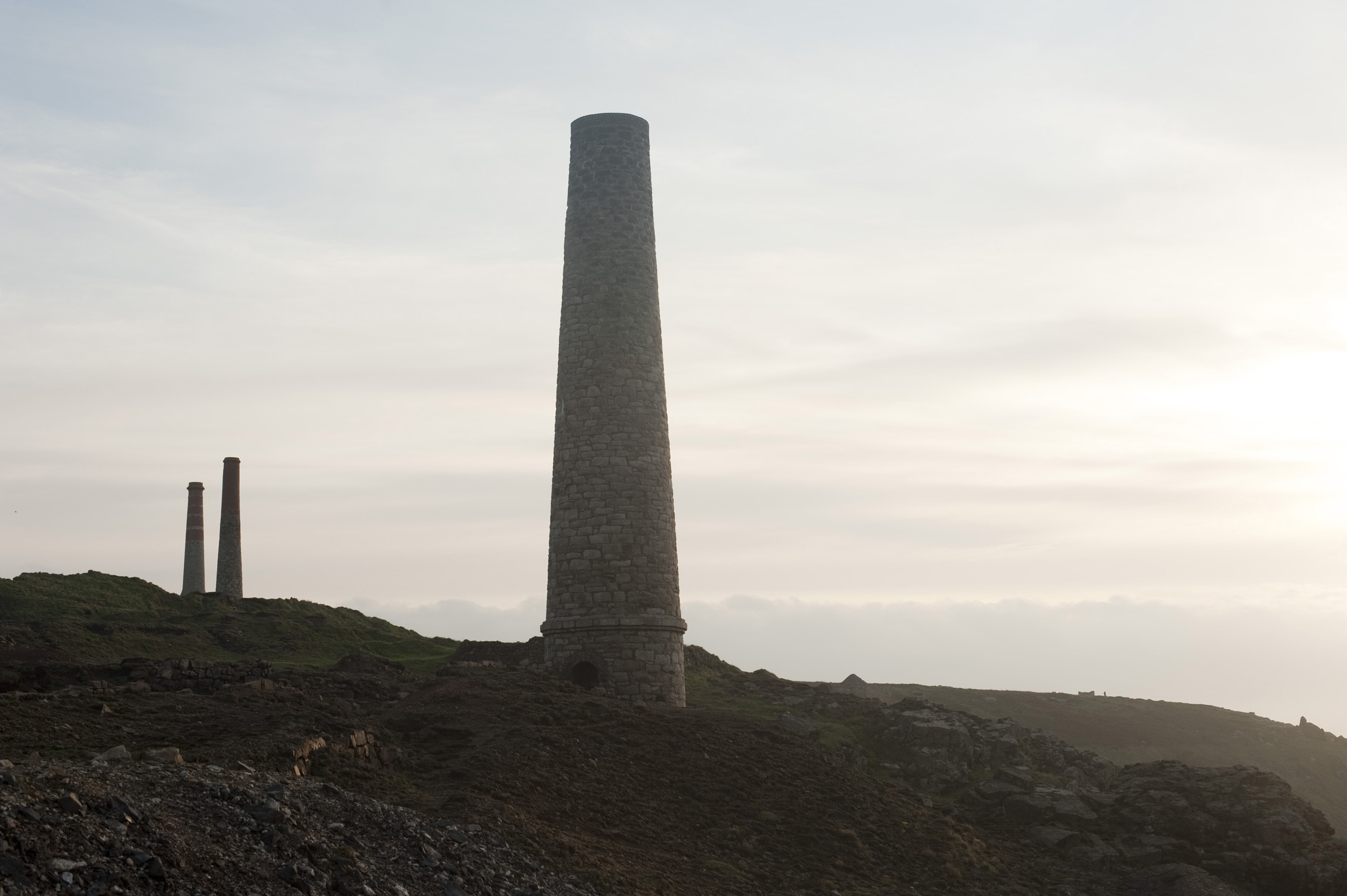 Old mine chimneys at the levant mine, Part of the Cornwall Mining Landscape World Heritage Site
