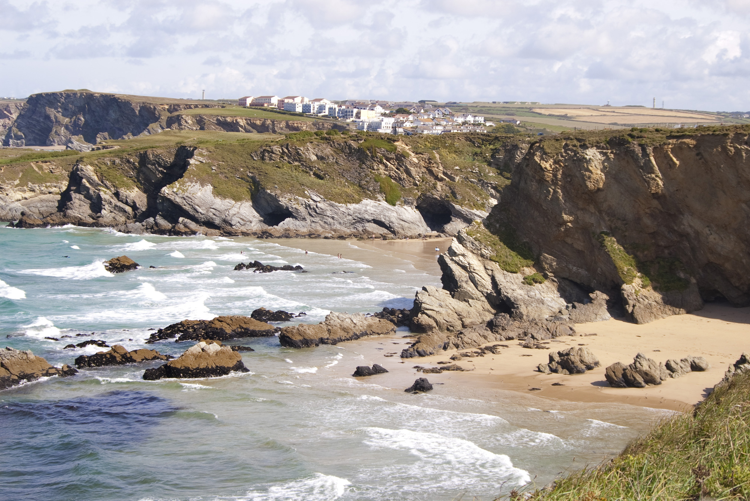 a view along the rugged cornwall coast near newquay