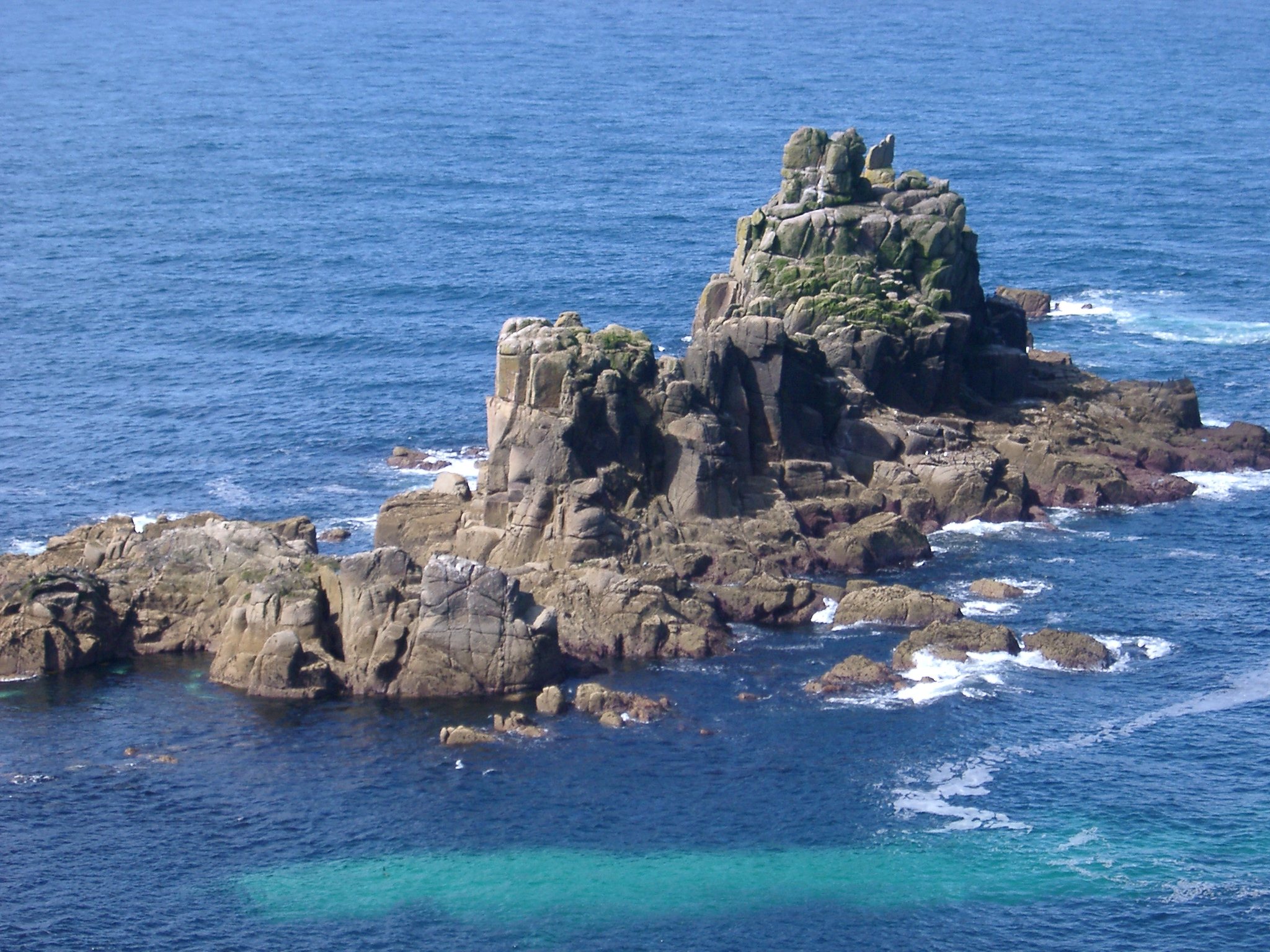 rocks off the coast at lands end, cornwall,