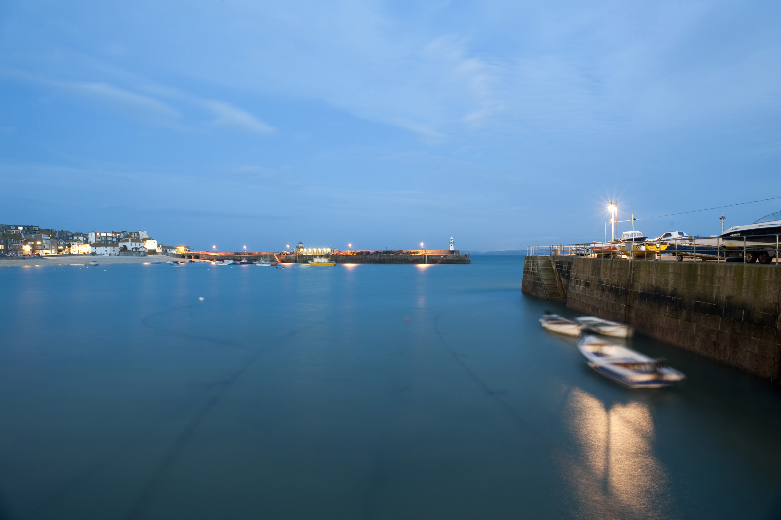 a twlight view of the harbour at saint ives, cornwall