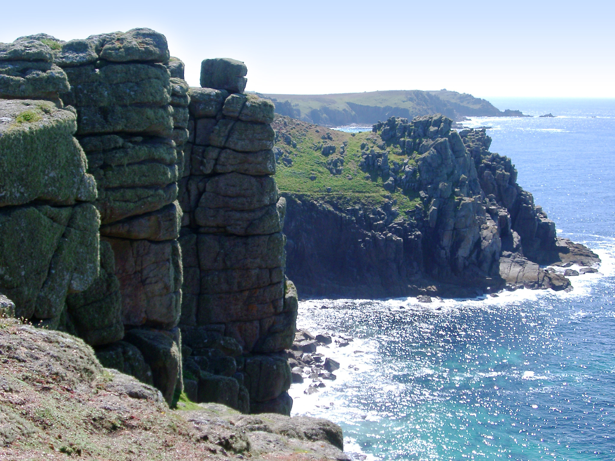 rugged cliffs and rock collumns at lands end, cornwall