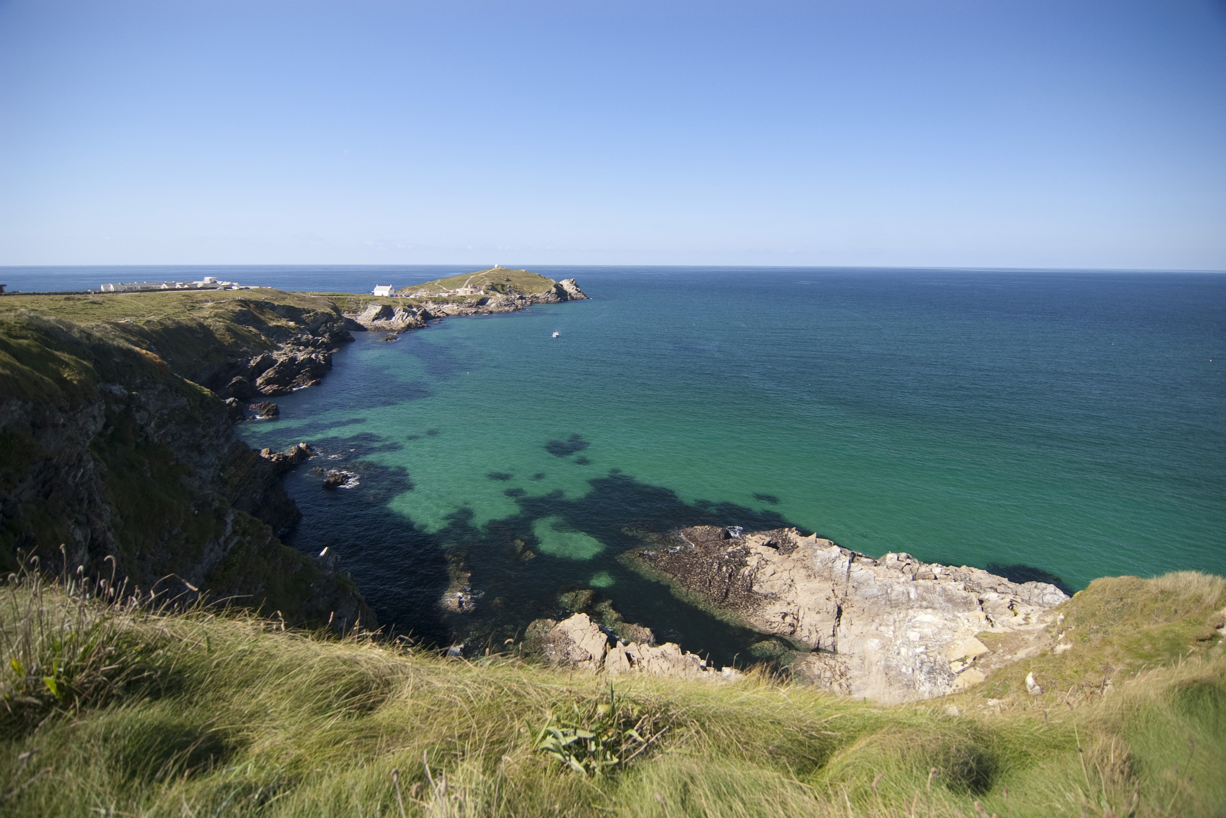 a panoramic view of towan head, newquay, cornwall