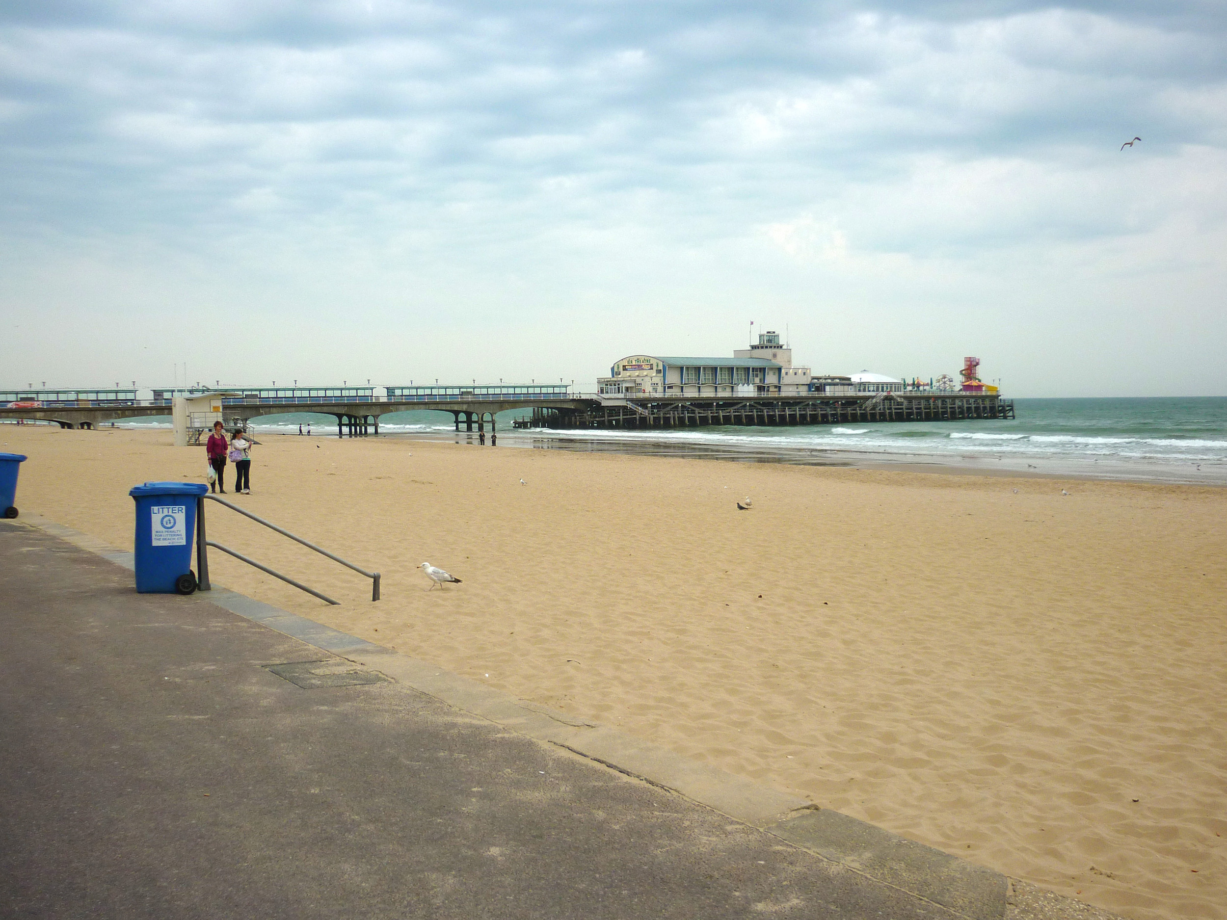 pier and beach at the holiday town of bournemouth, dorset