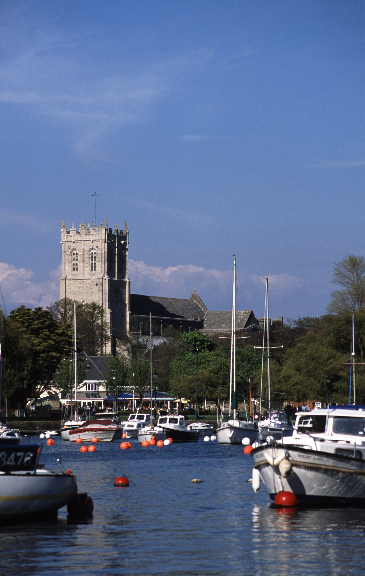 christchurch priory tower and harbour