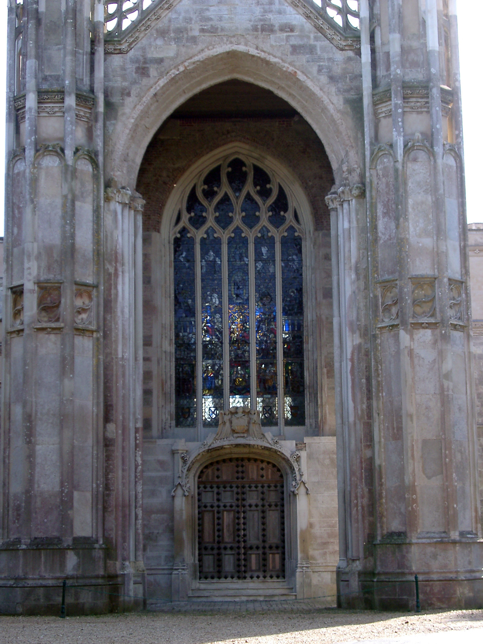 Gothic Revival Door And Stained Glass Window