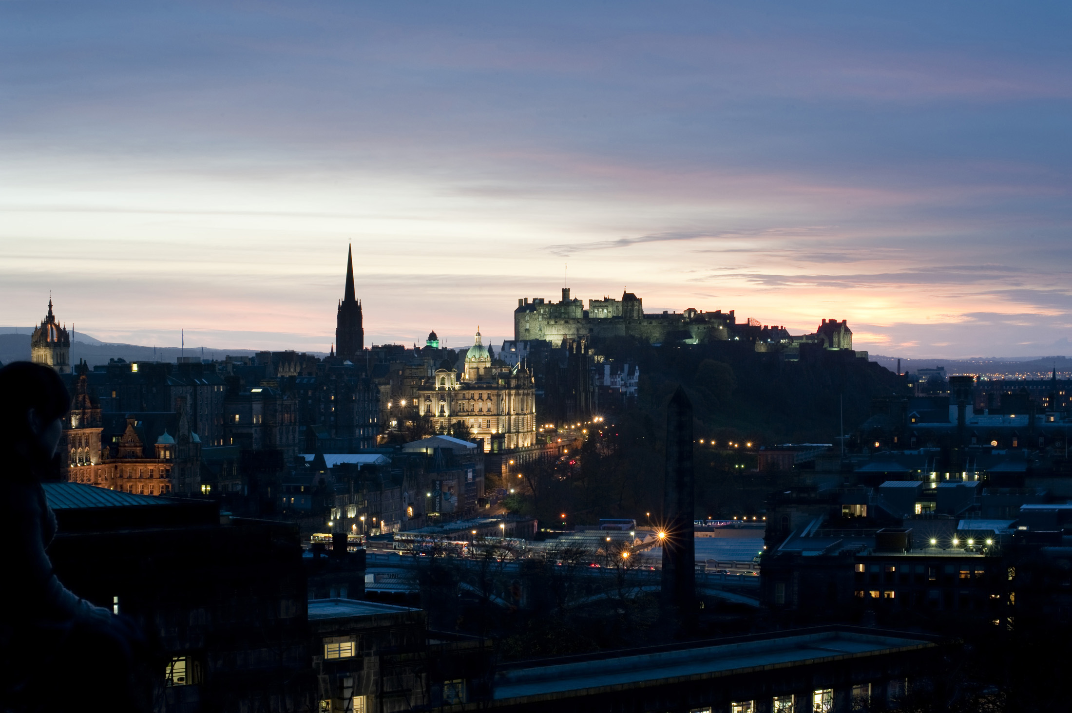 City of Edinburgh at sunset looking towards the Edinburgh Rock and Castle