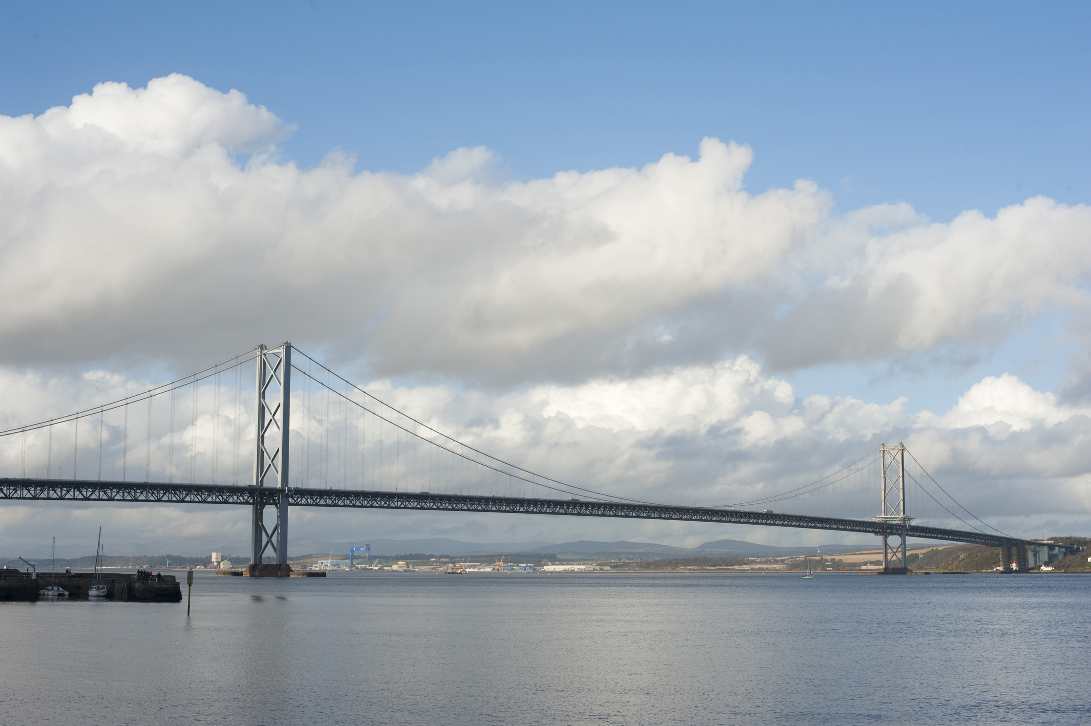 forth road bridge crossing the waters of the firth of forth between Fife and West Lothian, Scotland