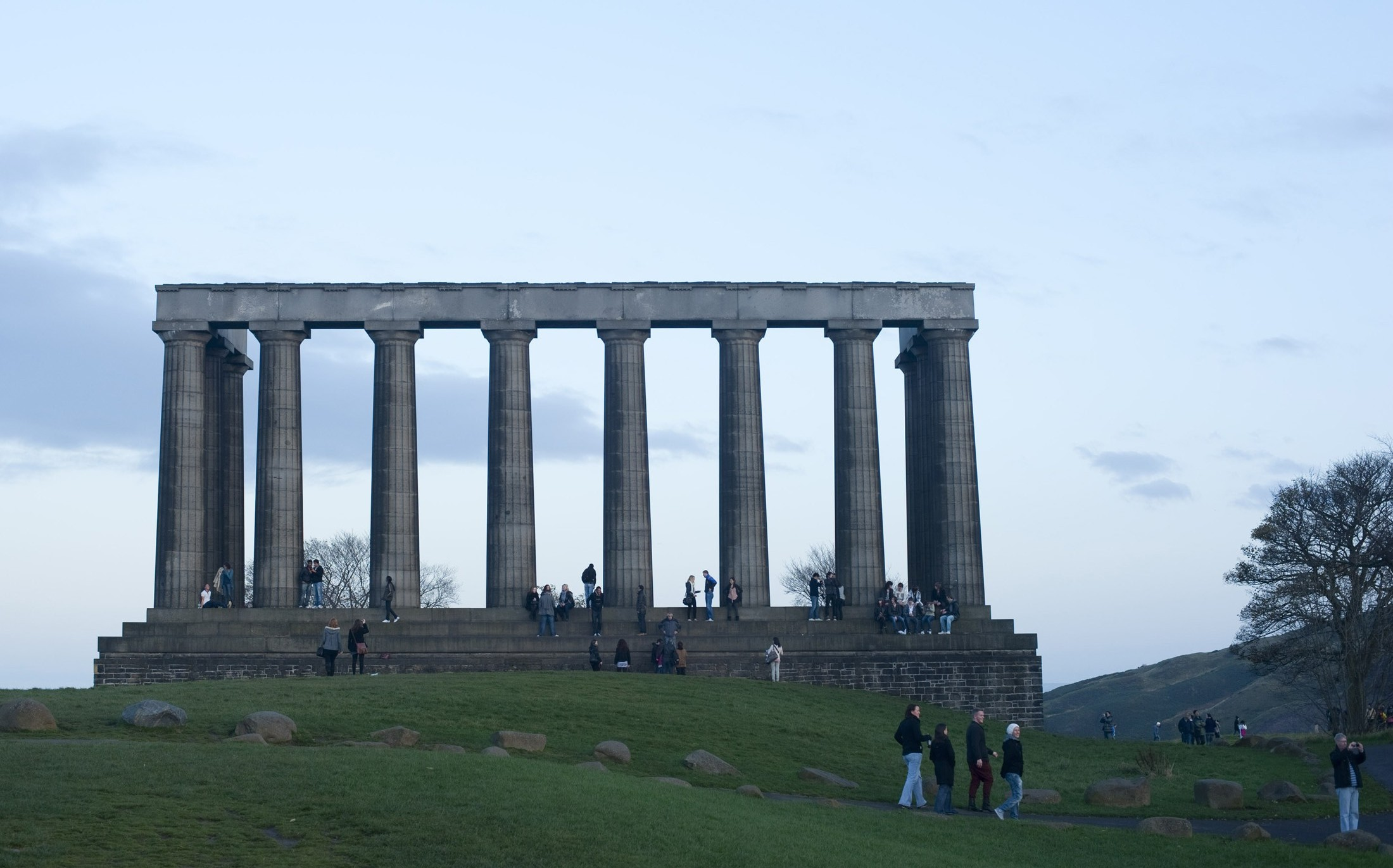 Edinburgh's Folly, the unfinished collonade of the National Monument on top of carlton hill, Edinburgh, Scotland