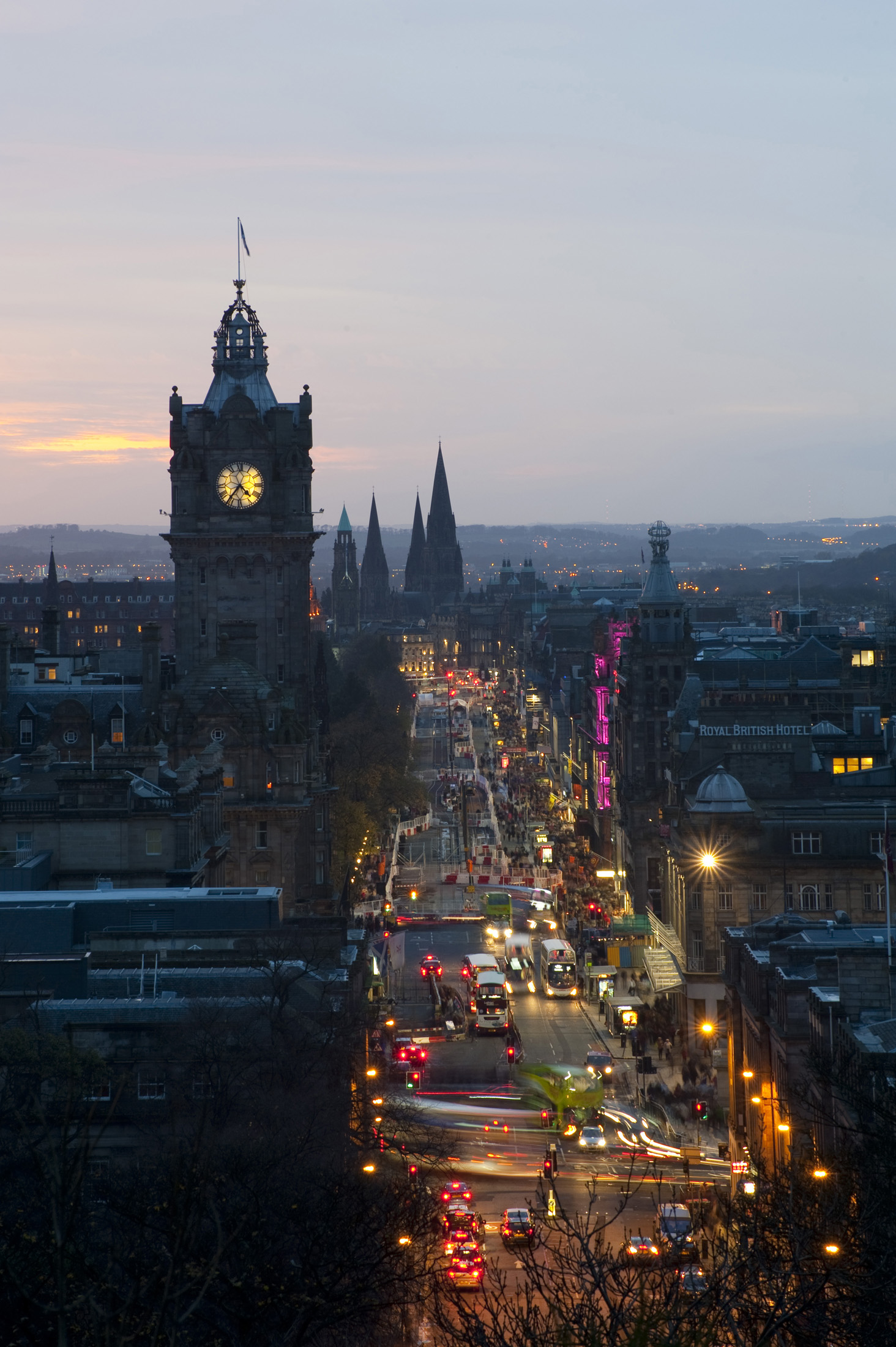 Bustling nighlife on Princes street Edinburgh at night