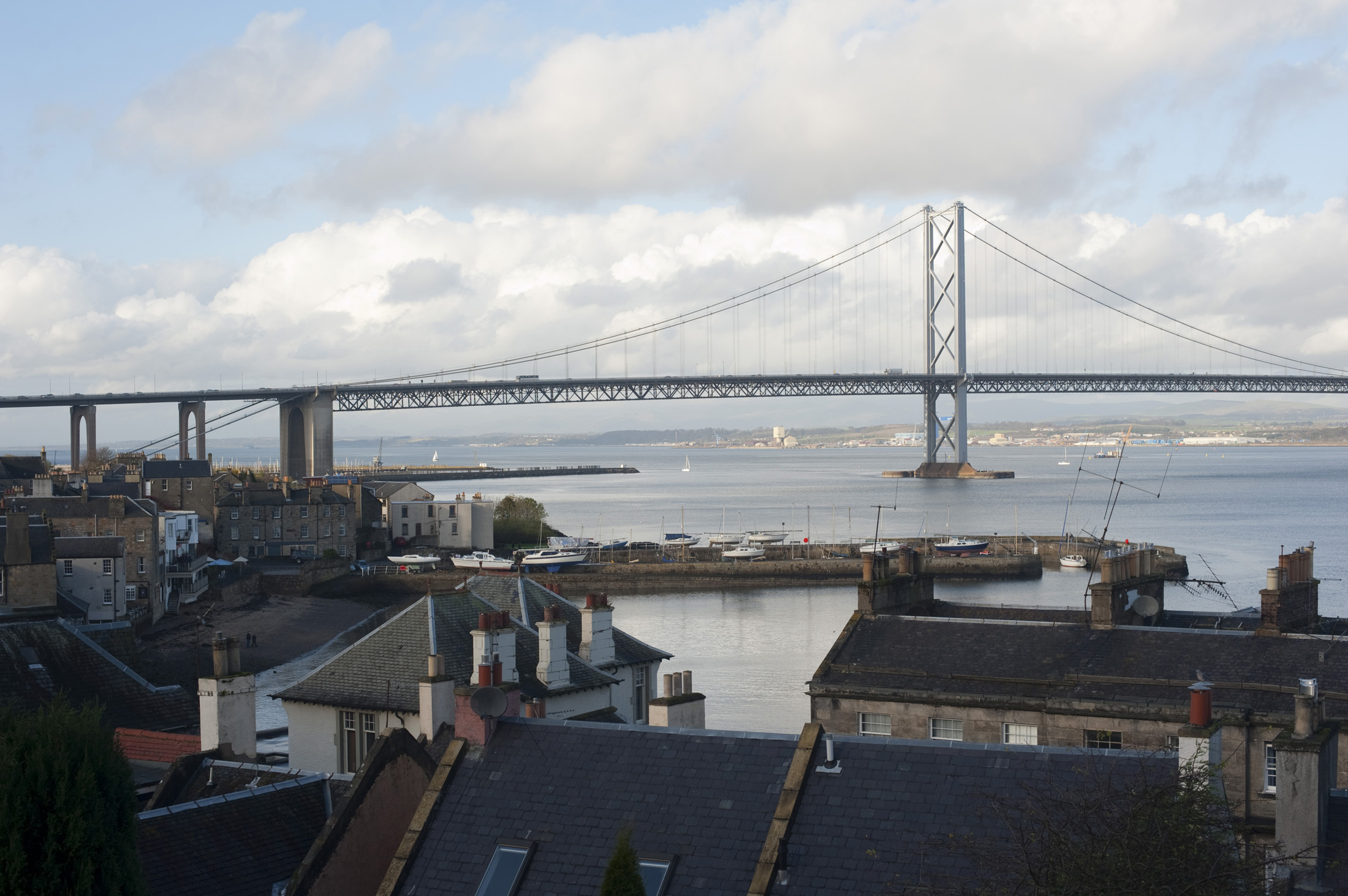 forth road bridge seen from queensferry, West Lothain