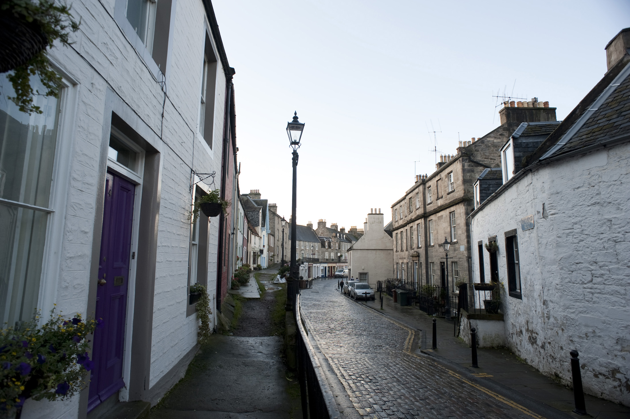 narrow cobbled streets of queensferry, west lothain, scotland