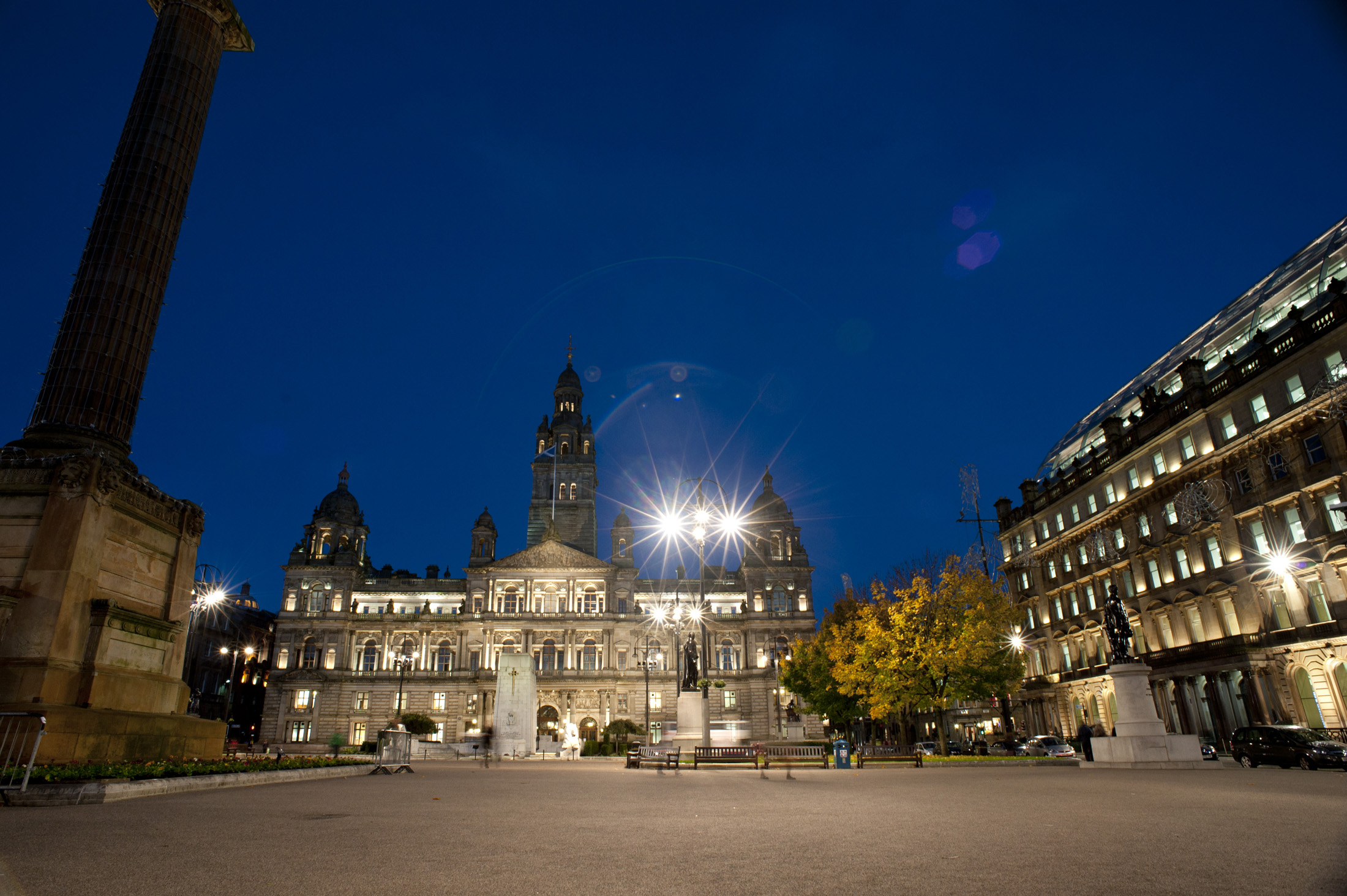 Night view of George Square, Glasgow, which is the principal civic square in the city named after King George III and today is the headquarters of the City Council