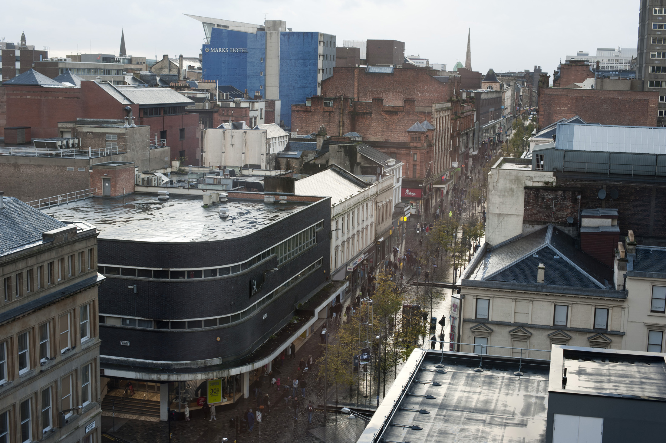 Aerial view of Sauchiehall Street in Glasgow, Scotland which is one of the main shopping and commercial streets in the city centre