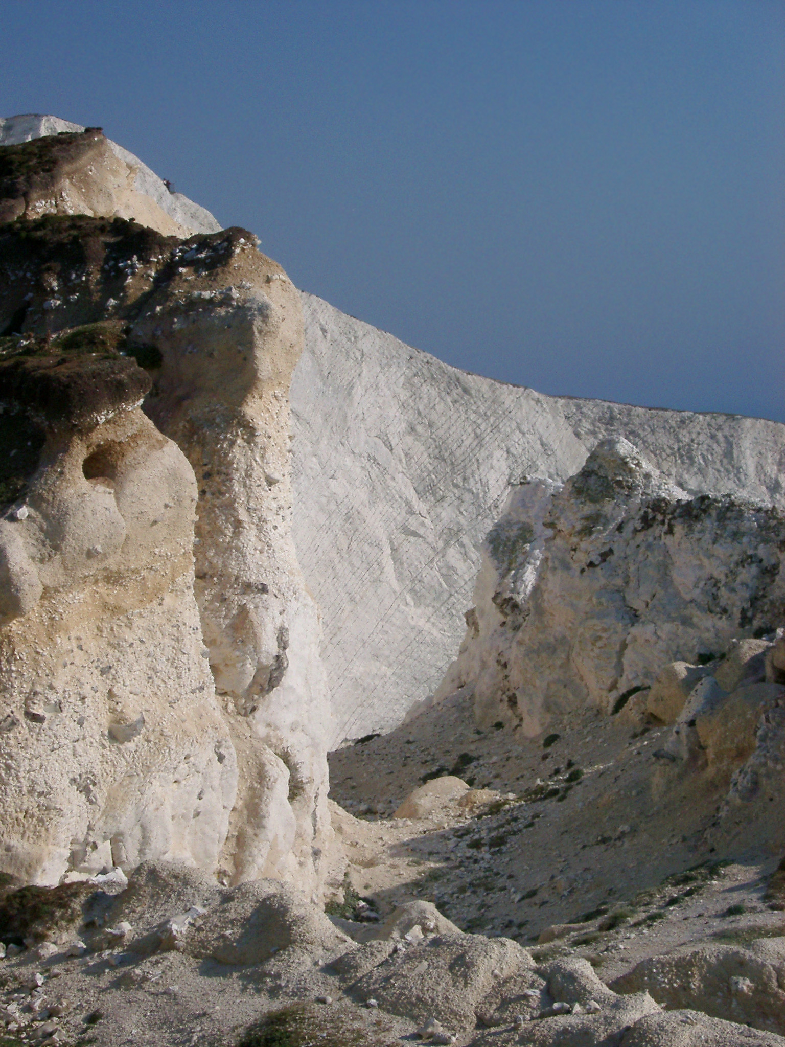 Eroded chalk cliffs showing evidence of landslip on the Isle of Wight
