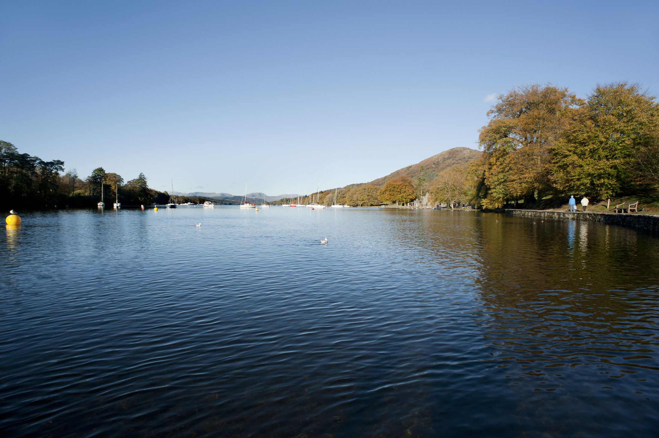 Beautiful calm tranquil waters of Lake Windermere in the English Lake District