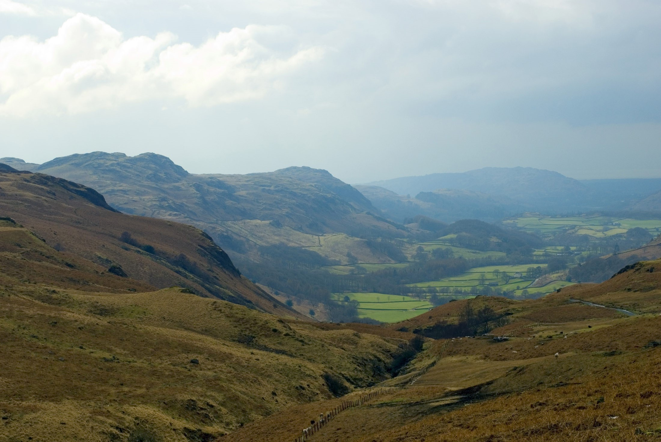 a view of the eskdale valley from hardknott pass