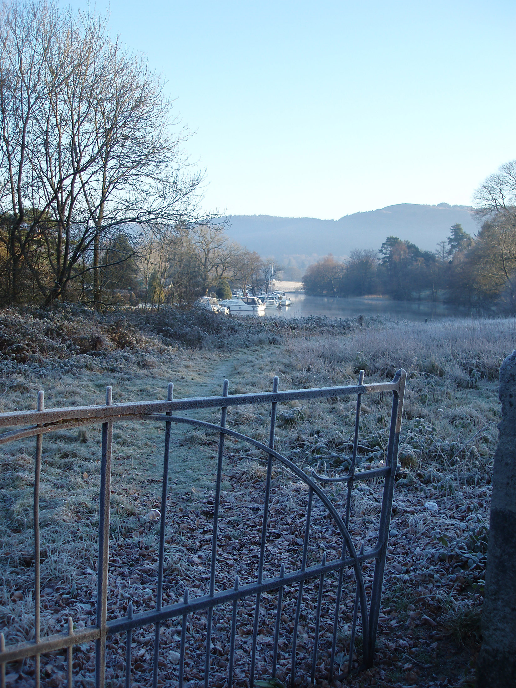 frosty winter morning at newby bridge looking out across the end of windermere