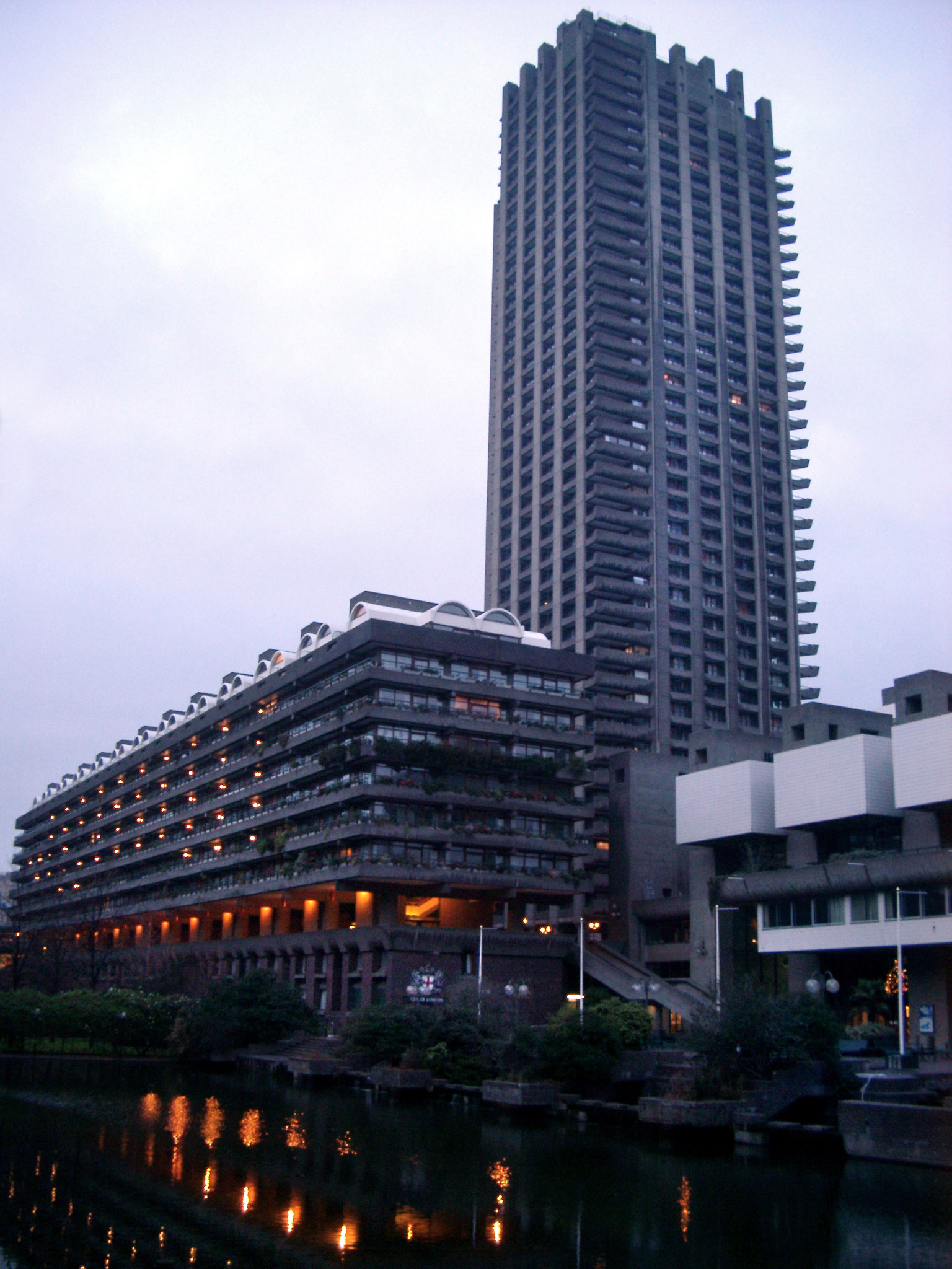 Brutalist Architecture at the Barbican Arts Centre in London, England. Captured at Night Time.