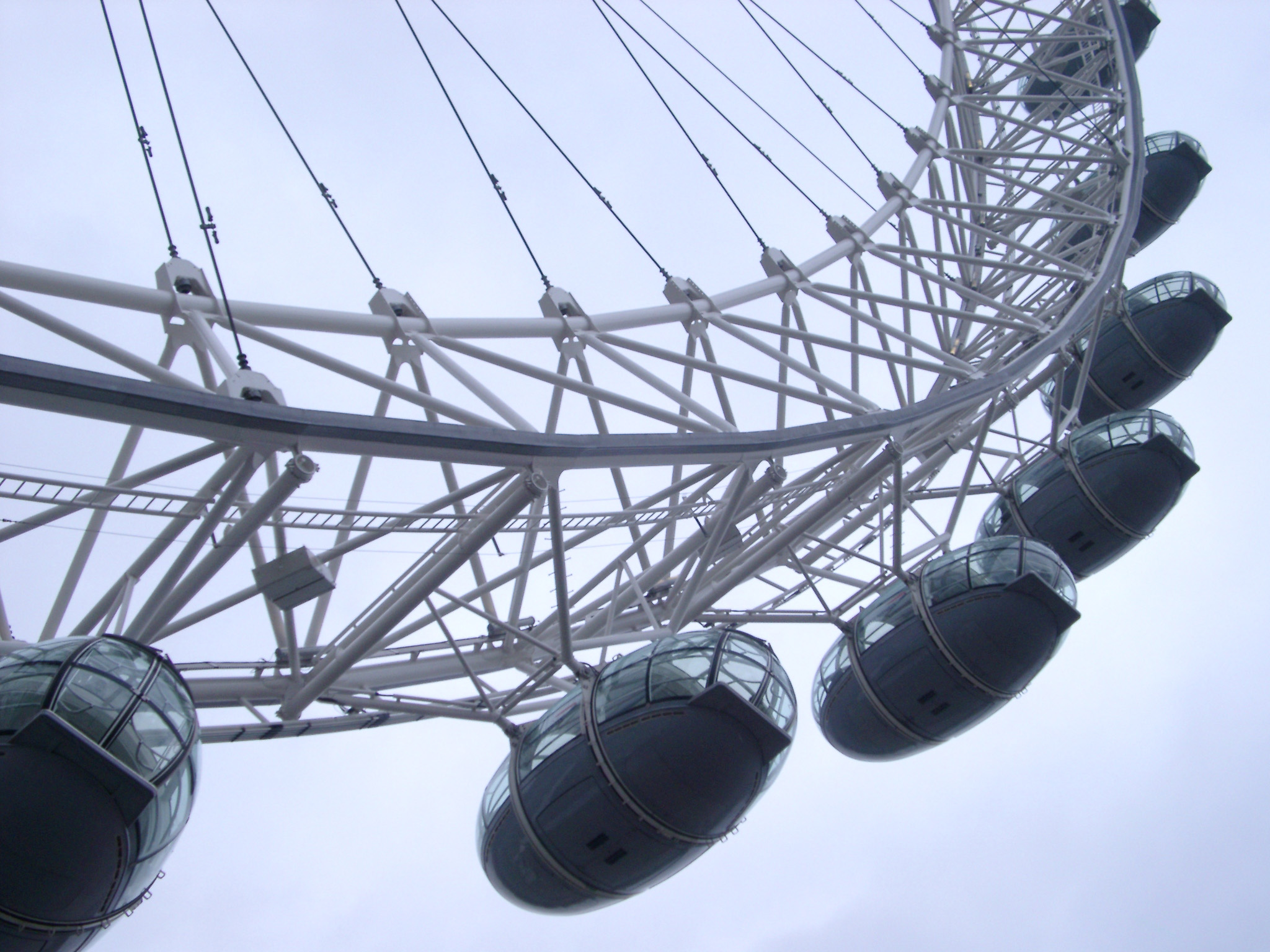 Detail of the ovoid passenger capsules on the rim of the London Eye used as observation posts for viewing central London and the River Thames and a popular tourist attraction