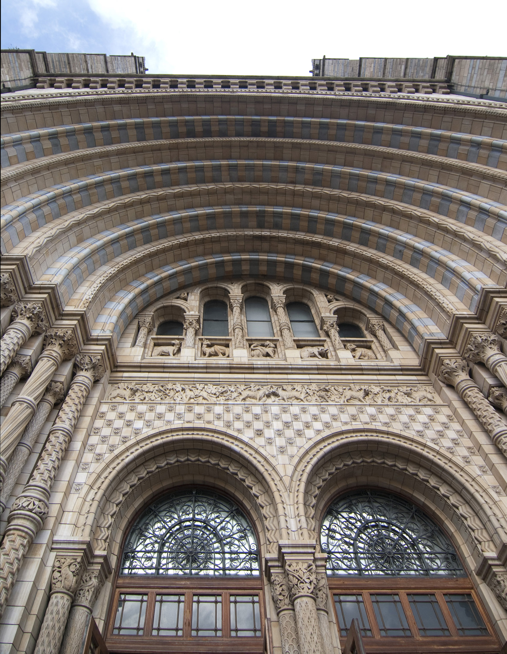grand entrance to londons natural history museum on the Cromwell road