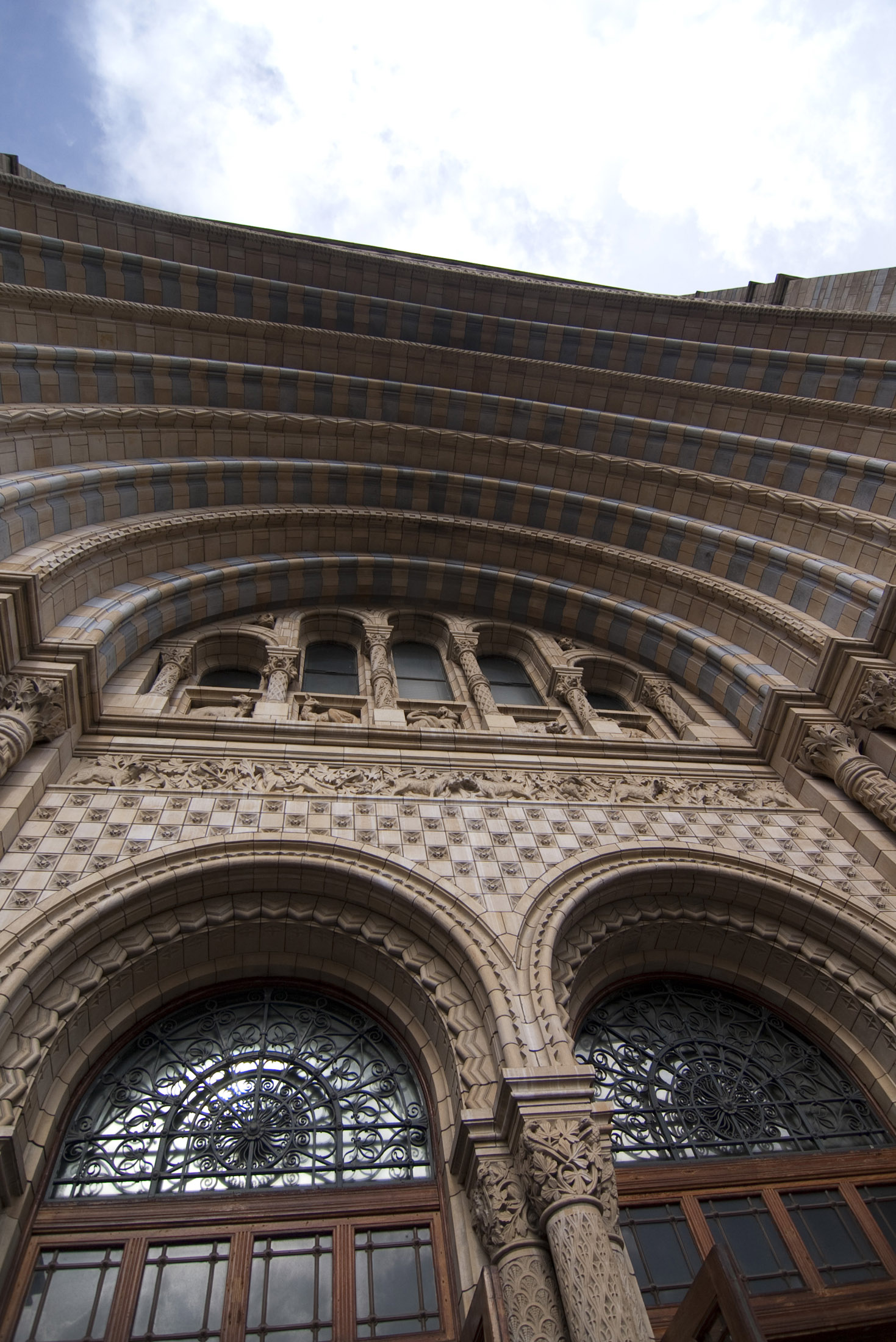 Romanesque style grand entrance to londons natural history museum by architect Alfred Waterhouse