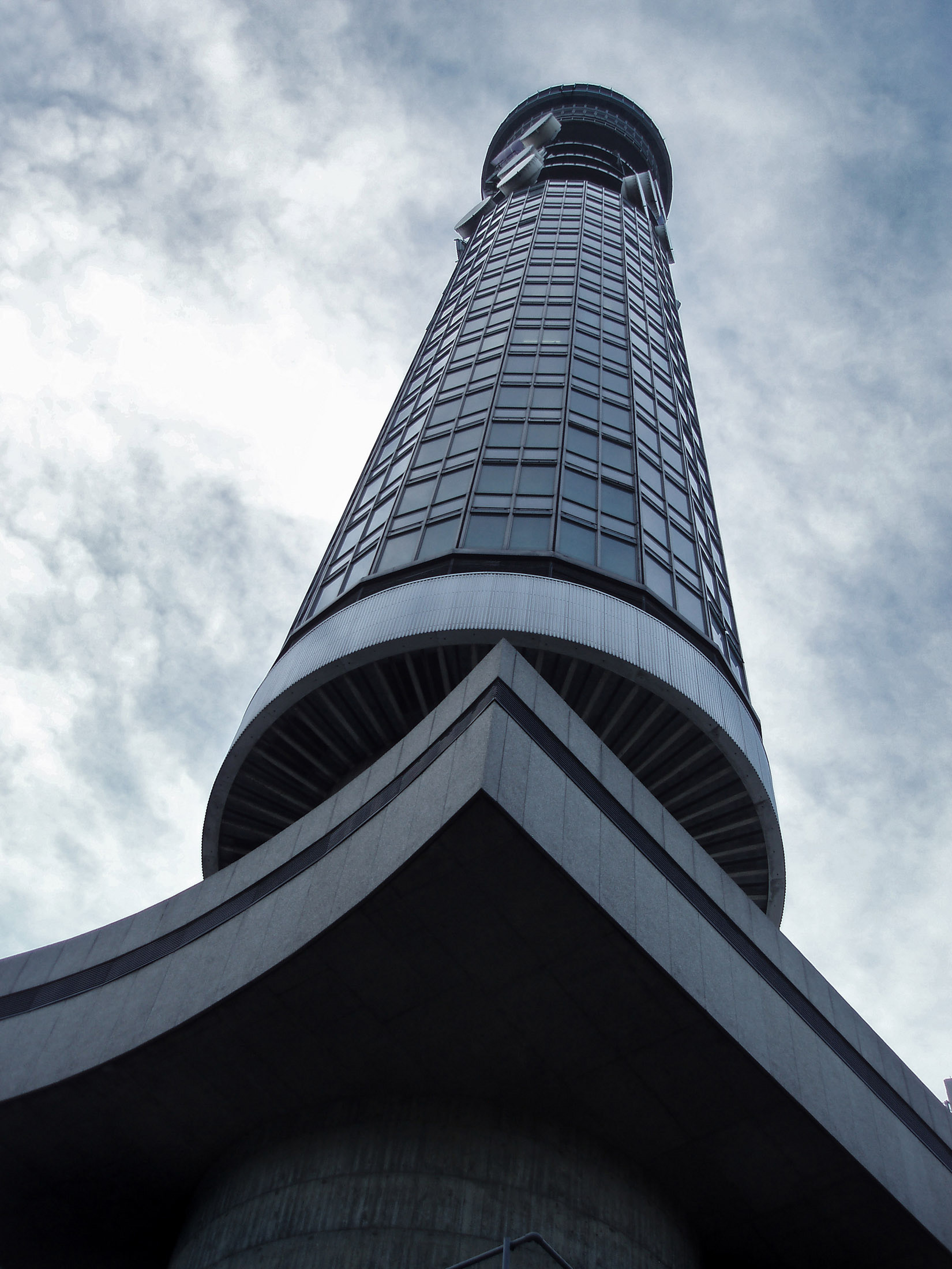Famous Architecture: BT Tower in Fitzrovia, London. It has been previously known as the Post Office Tower, the London Telecom Tower and the British Telecom Tower.