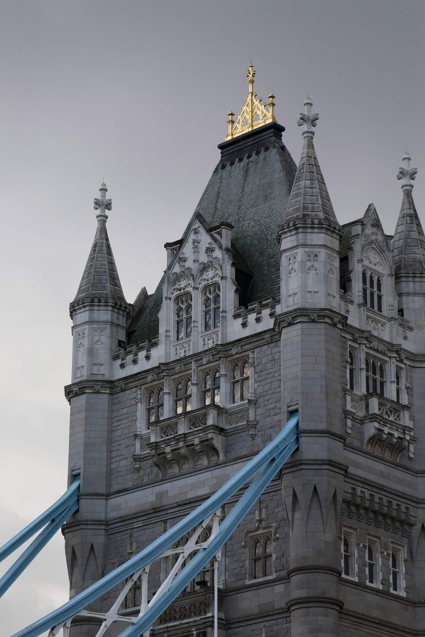 victorian gothic architectural details of one of the towers on londons famous tower bridge