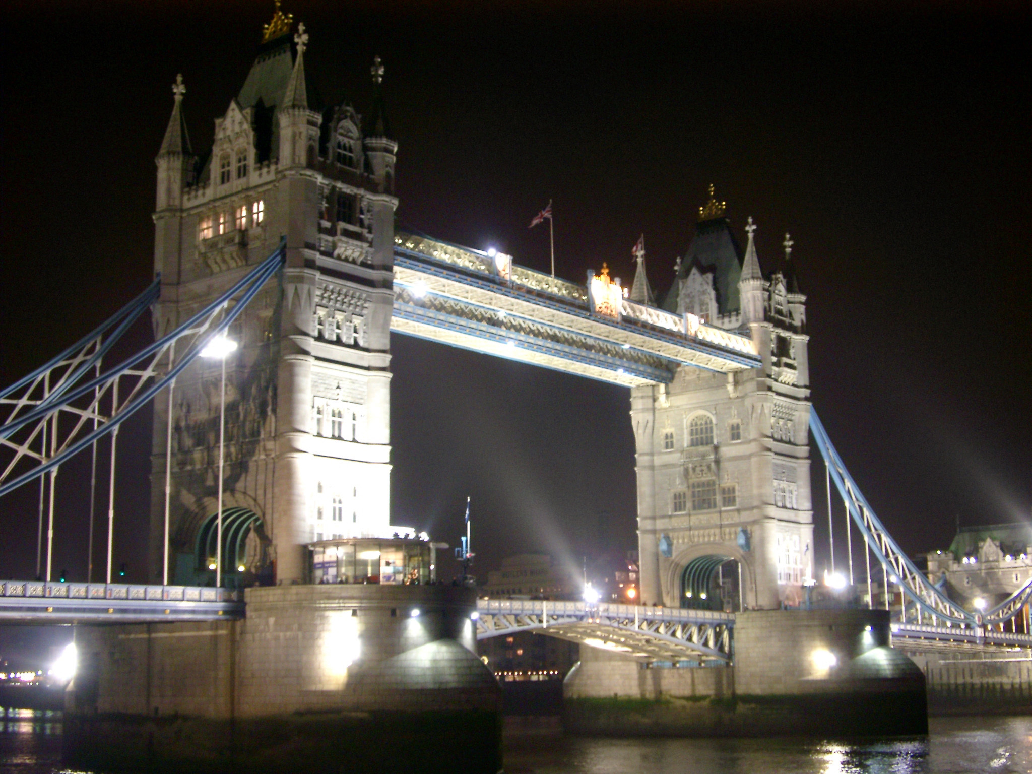 Tower Bridge in London Passing River Thames. Captured at Night Time