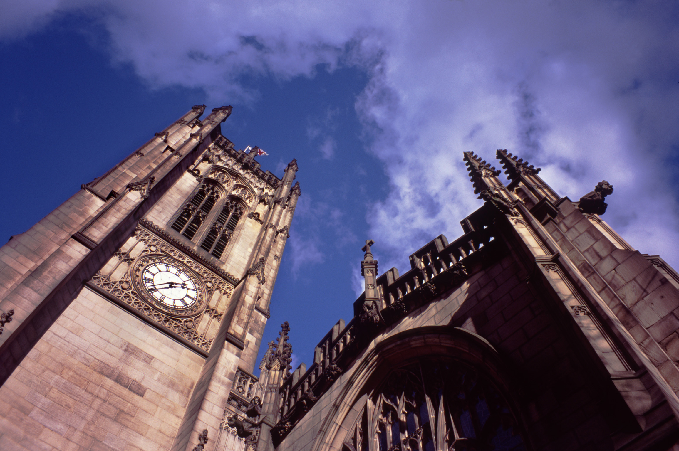 Famous Vintage Architectural Manchester Cathedral Building. Captured from Low Angle Point