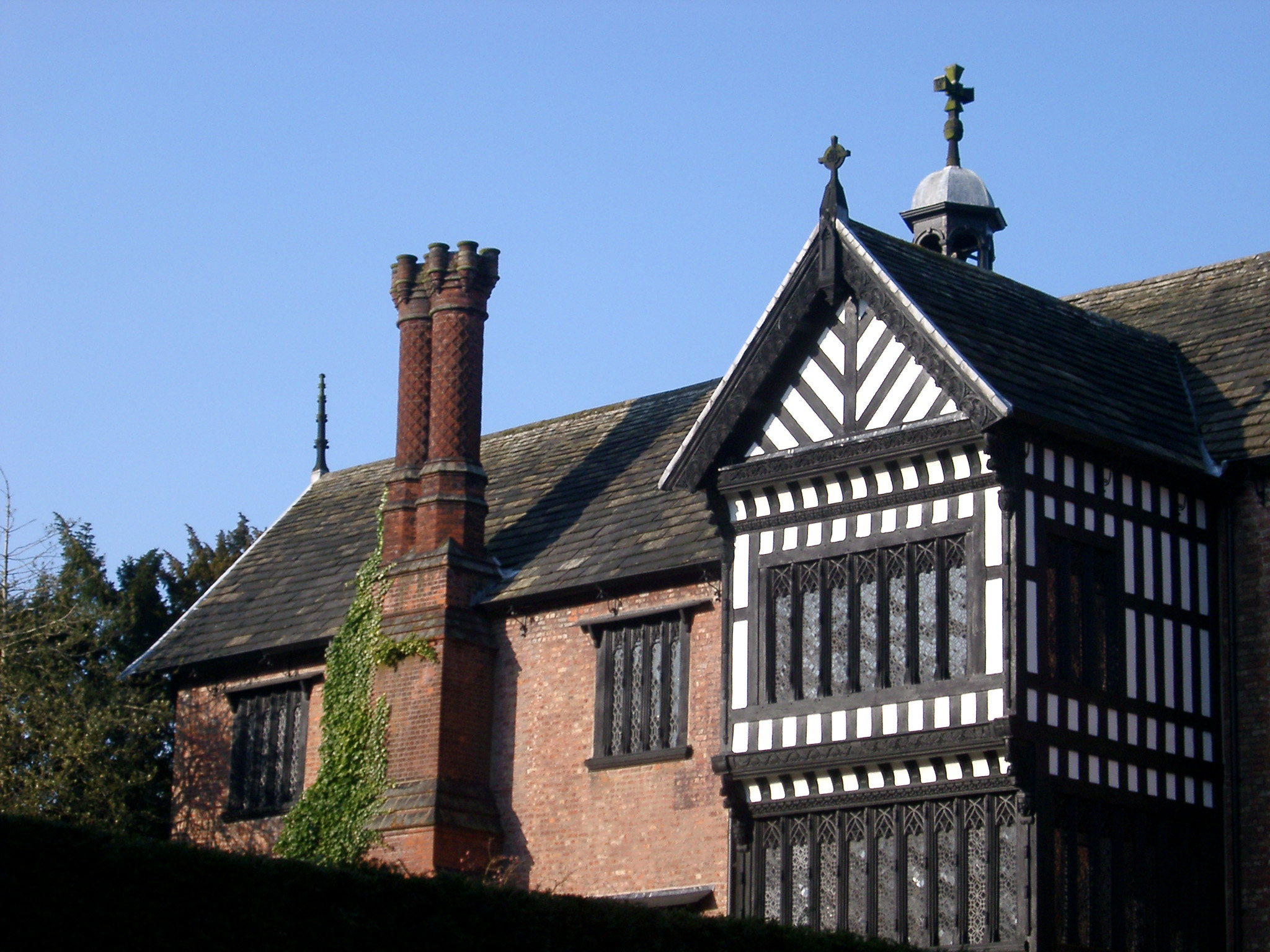 historic architectural details of the exterior of bramhall hall