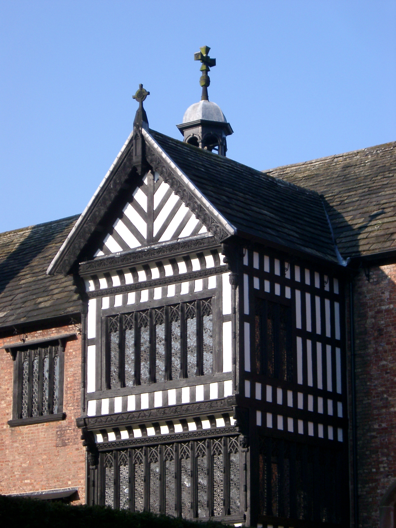 Architectural Detail of Bramall Hall Tudor Manor House in Manchester, England