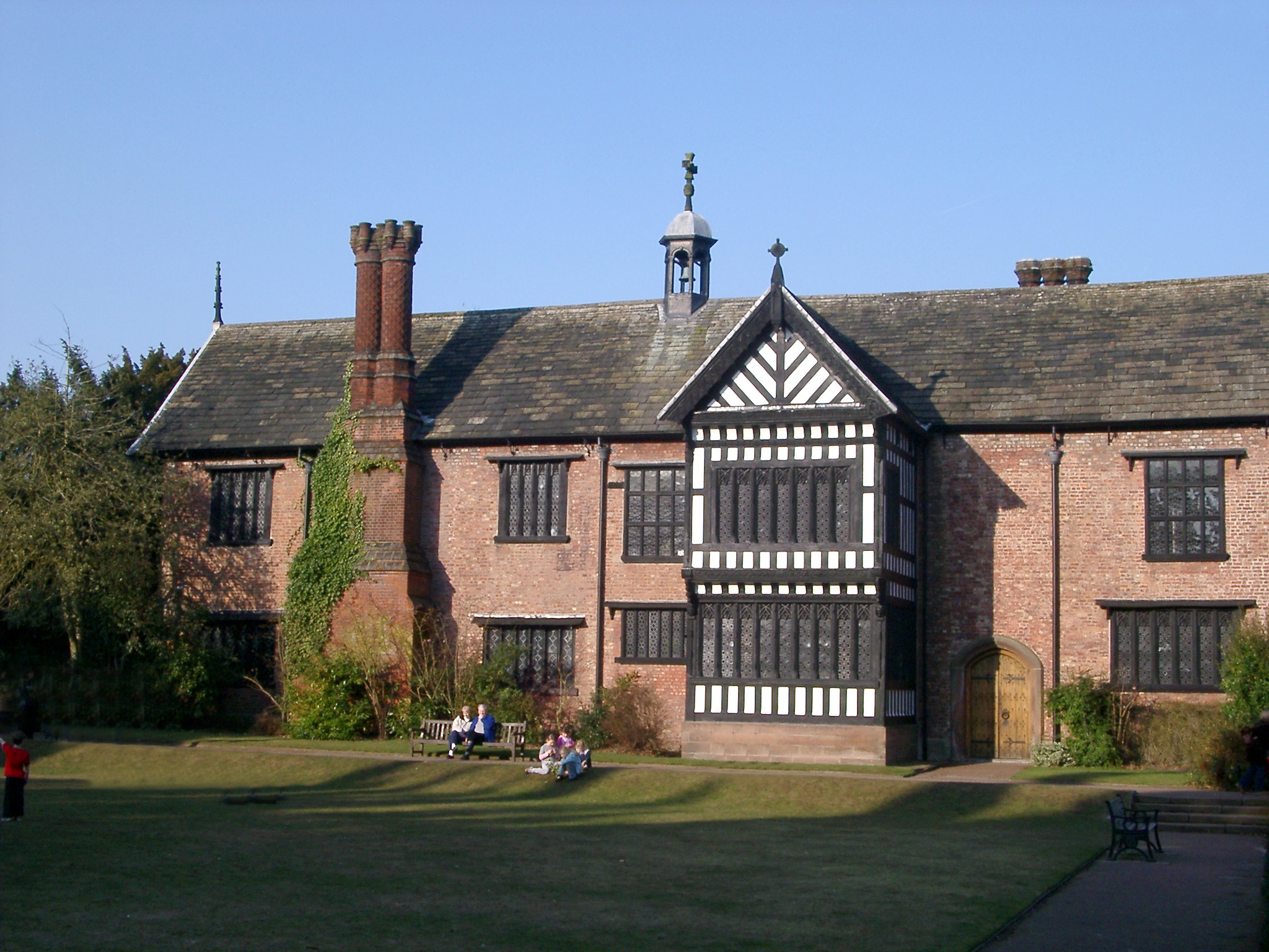 Spacious Lawn Area in front Famous Architectural Bramall Hall in Manchester, England.