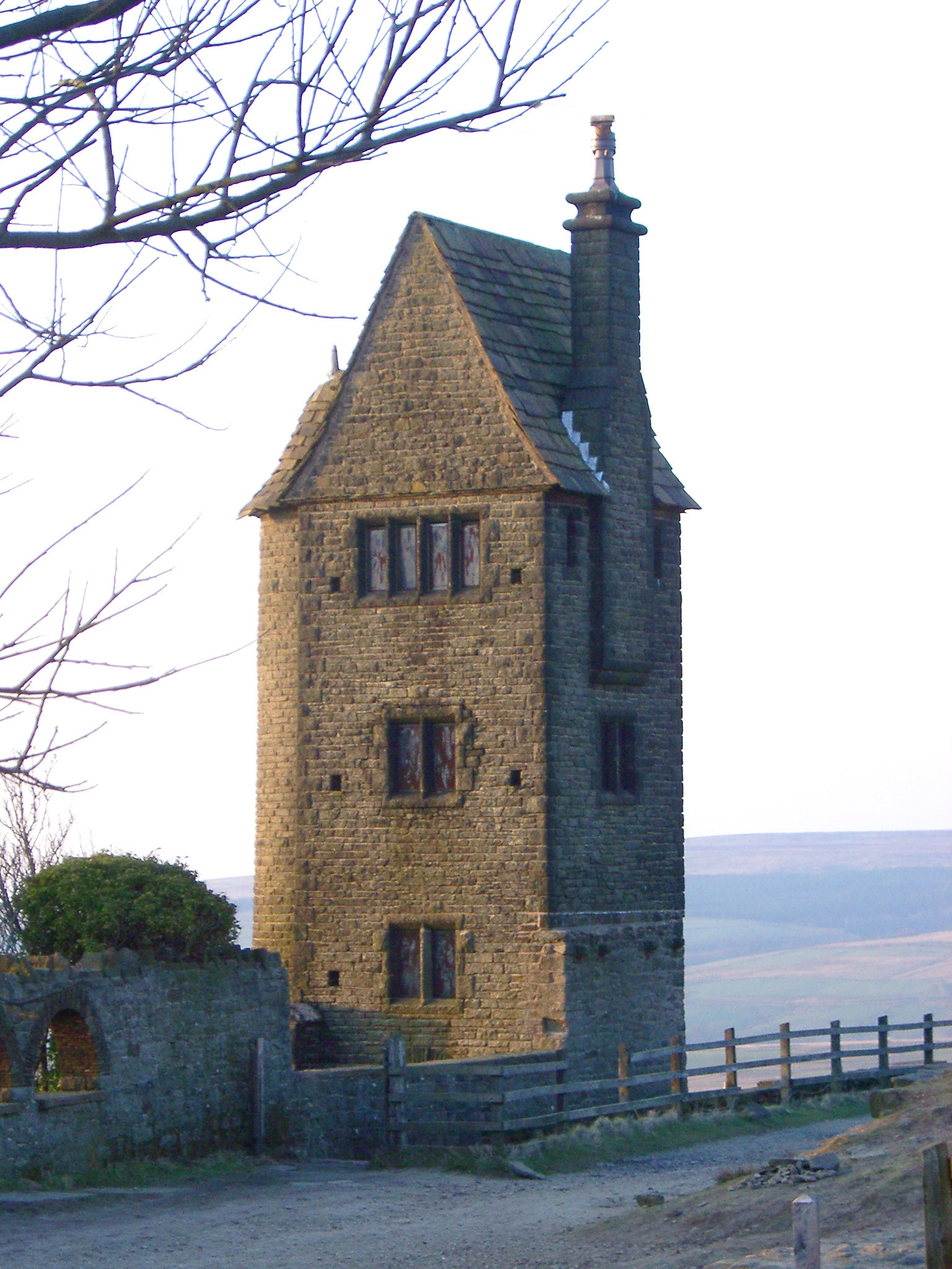 Exterior View of Historic Pigeon Tower Folly in Lever Park, Rivington.