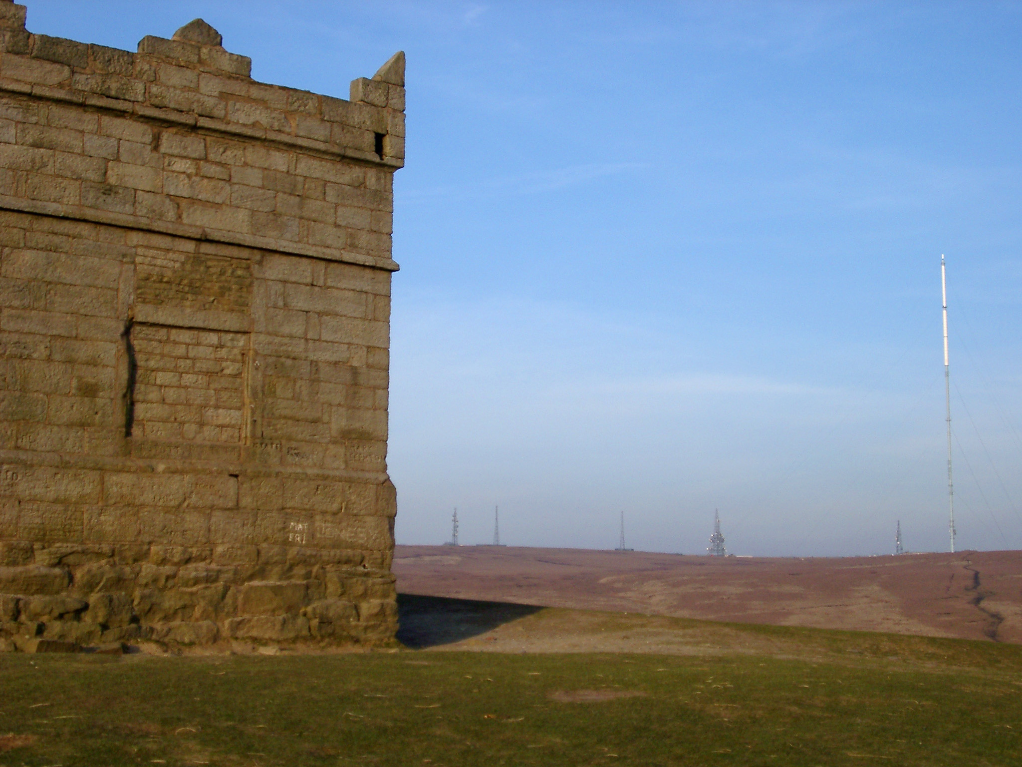 Rivington Pike Tower, originally built as a hunting lodge in 1733 used for grouse shooting, Winter Hill, West Pennine Moors